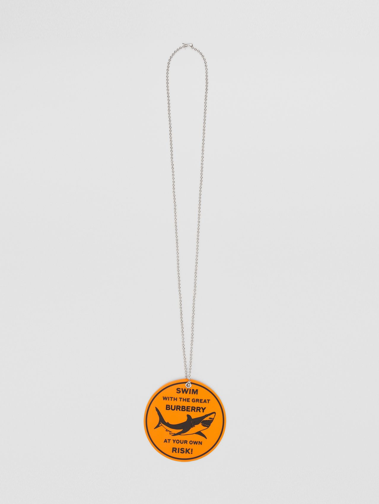 Rubber Shark Graphic Necklace in Palladium/orange