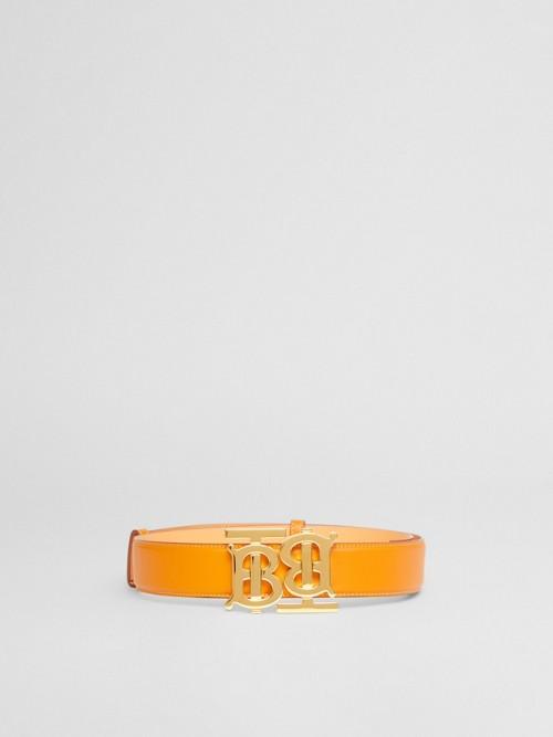 BURBERRY Belts Double Monogram Motif Leather Belt