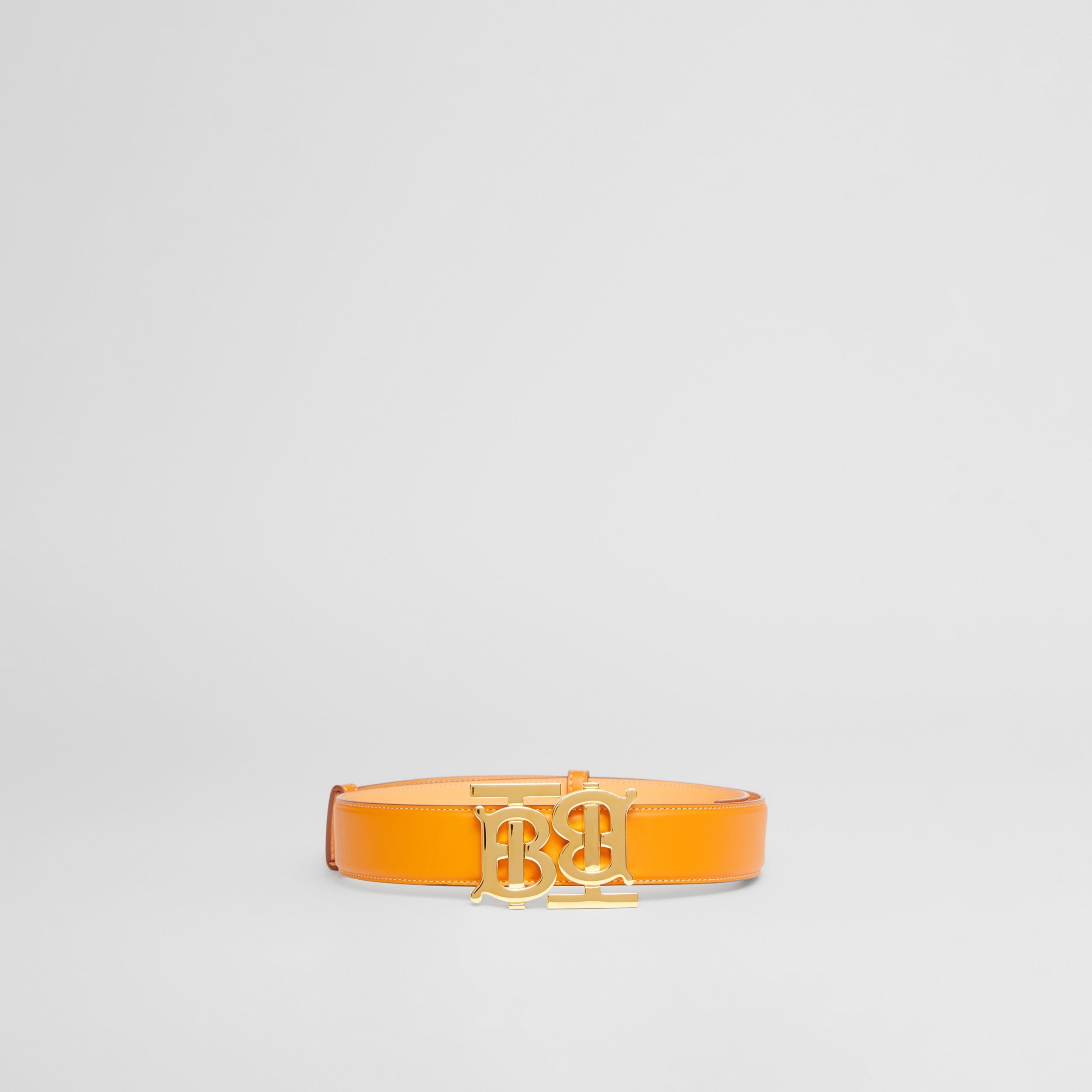 Double Monogram Motif Leather Belt in Deep Orange - Women | Burberry - 4