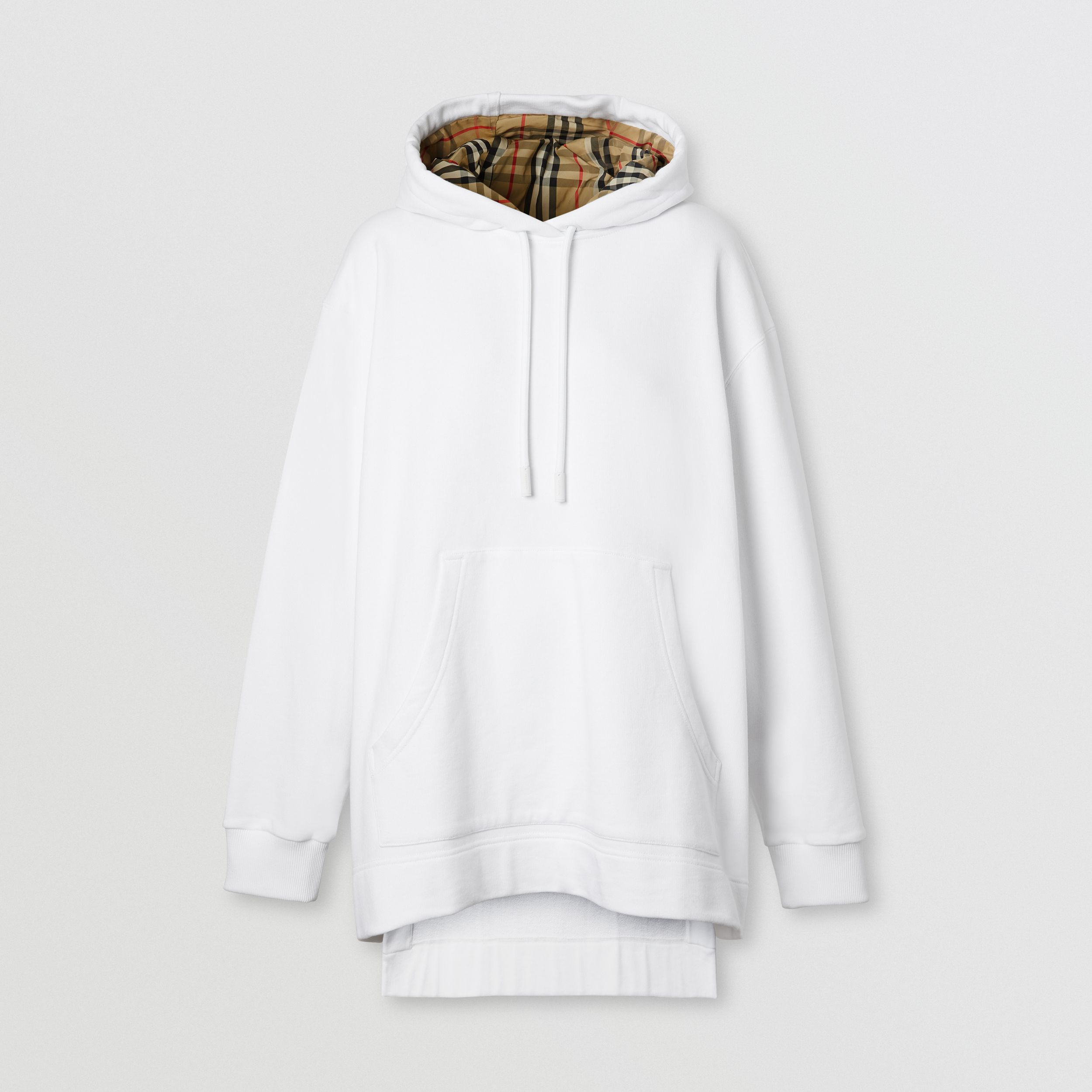 Stepped Hem Cotton Oversized Hoodie in White - Women | Burberry - 4