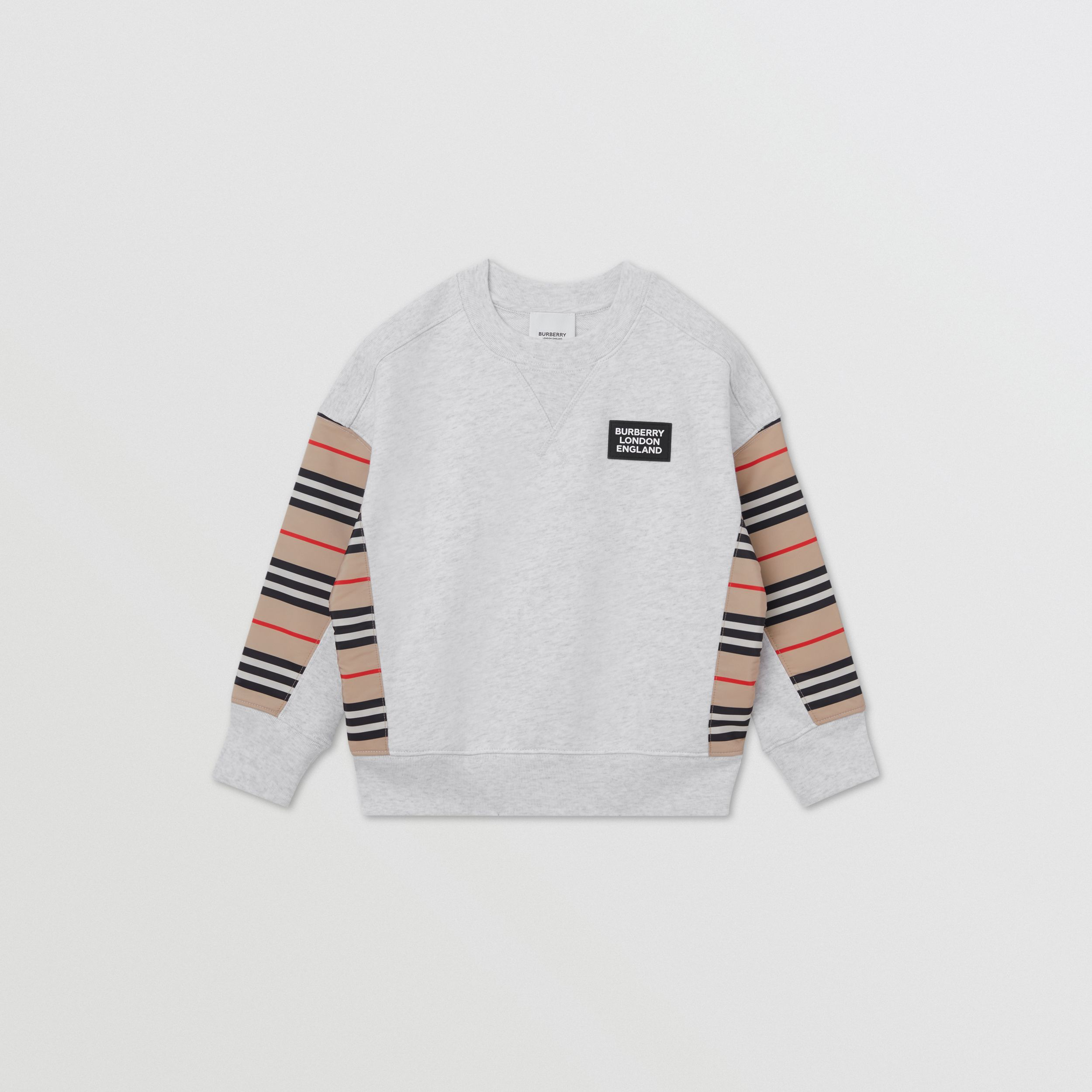 Icon Stripe Panel Cotton Sweatshirt in White Melange | Burberry - 1