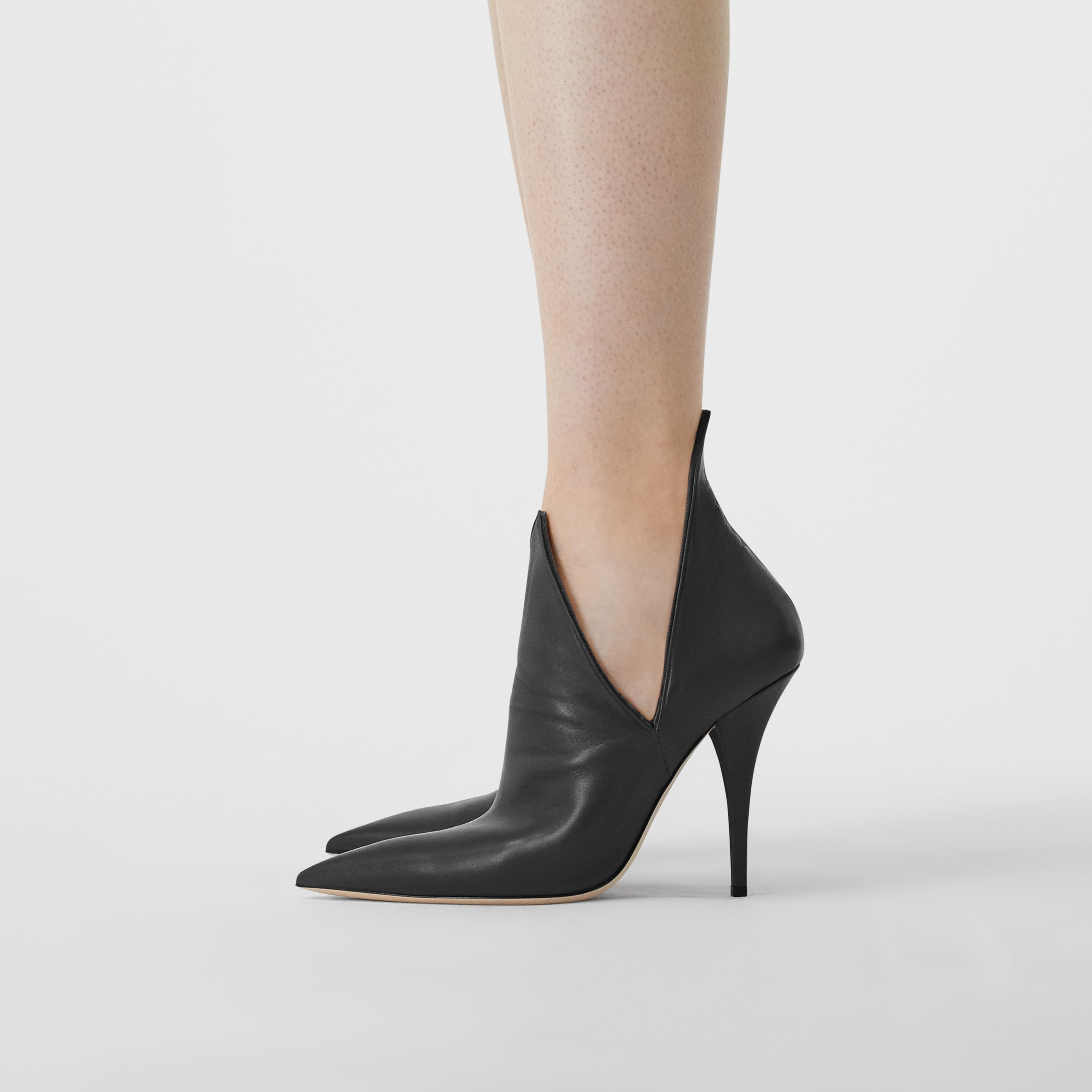 Velvet and Lambskin Foldover Point-toe Pumps in Black - Women | Burberry - 3