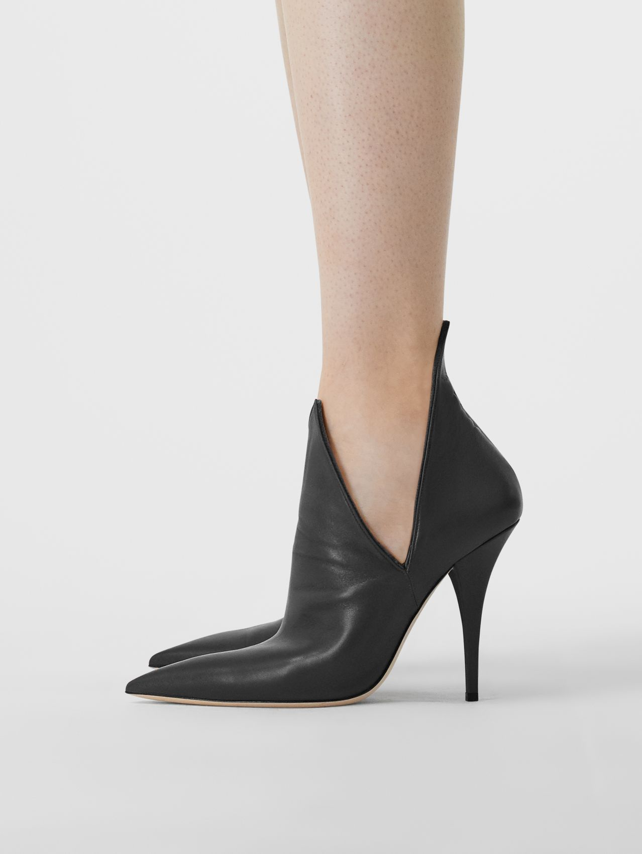 Velvet and Lambskin Foldover Point-toe Pumps in Black
