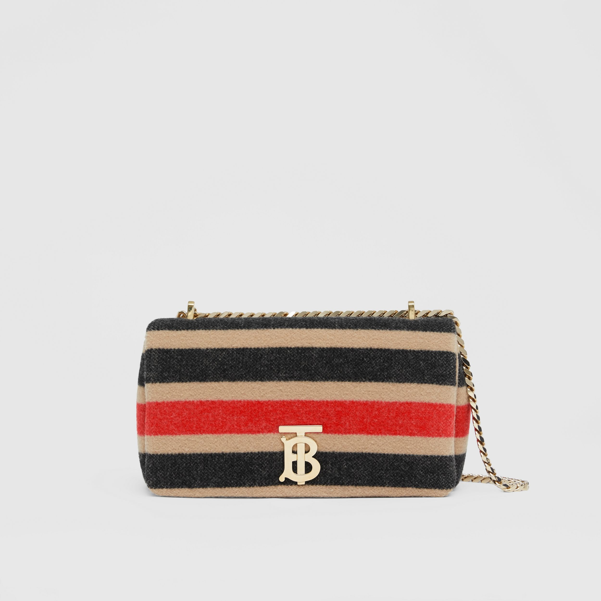 Small Striped Wool Lola Bag in Light Camel - Women | Burberry United States - 1