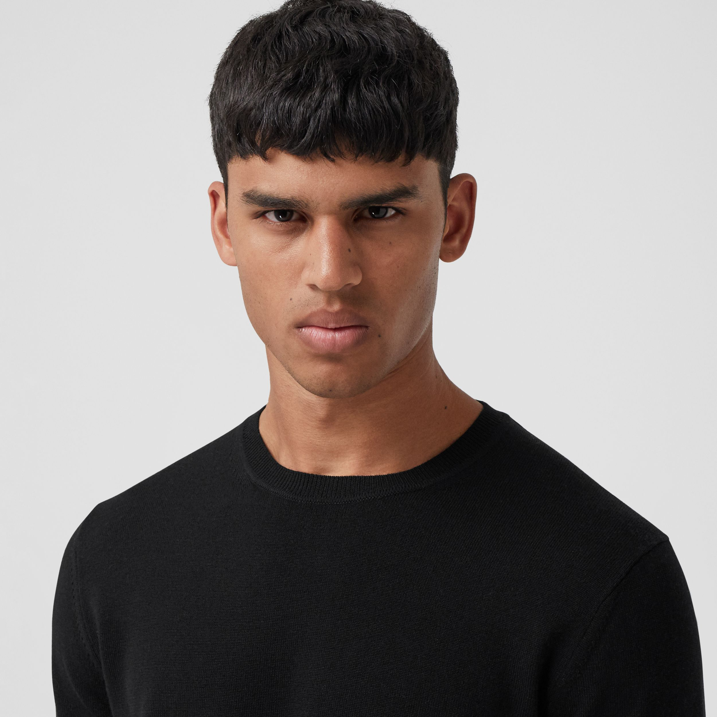 Icon Stripe Trim Merino Wool Sweater in Black - Men | Burberry - 2