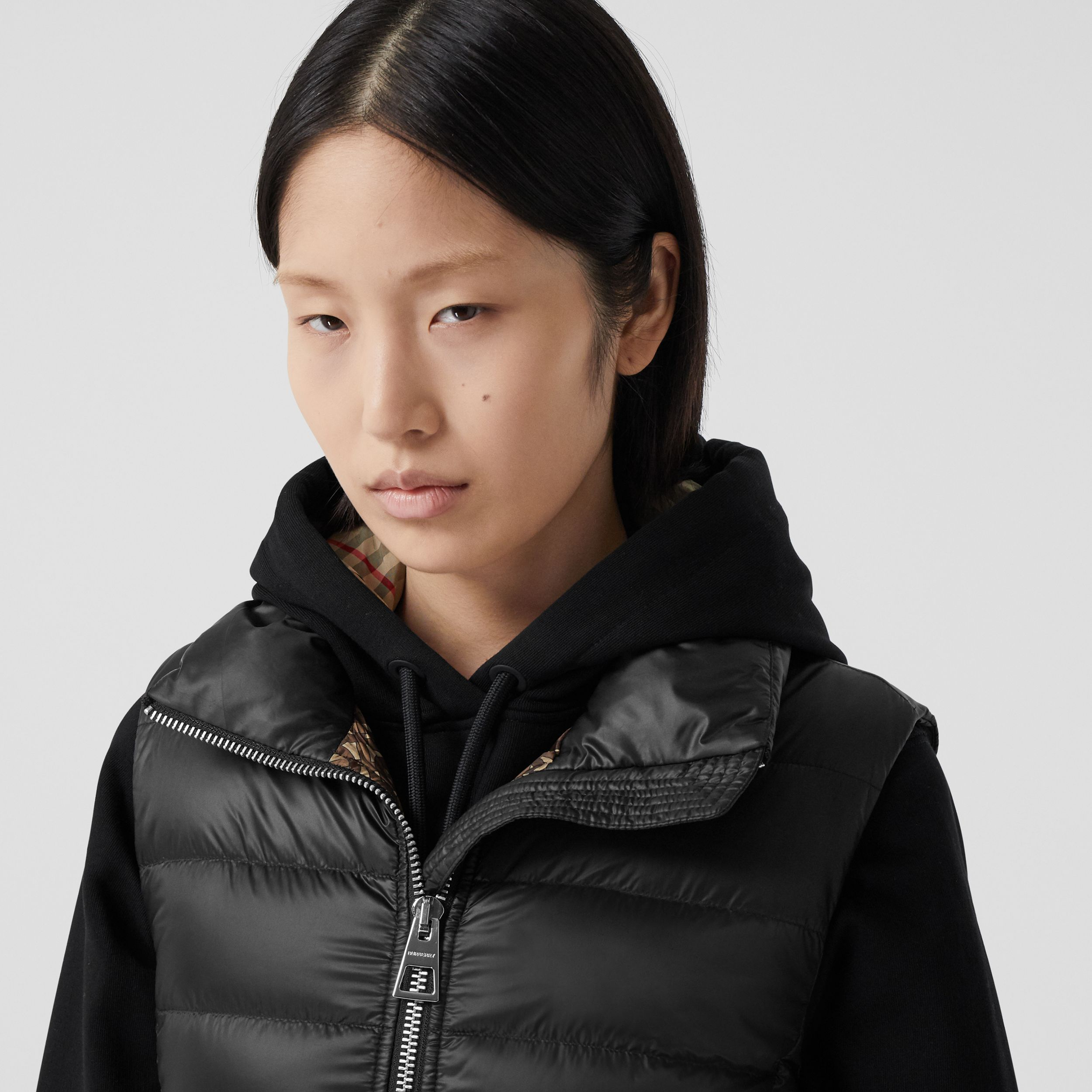 Rib Knit Panel ECONYL® Puffer Gilet in Black - Women | Burberry - 2