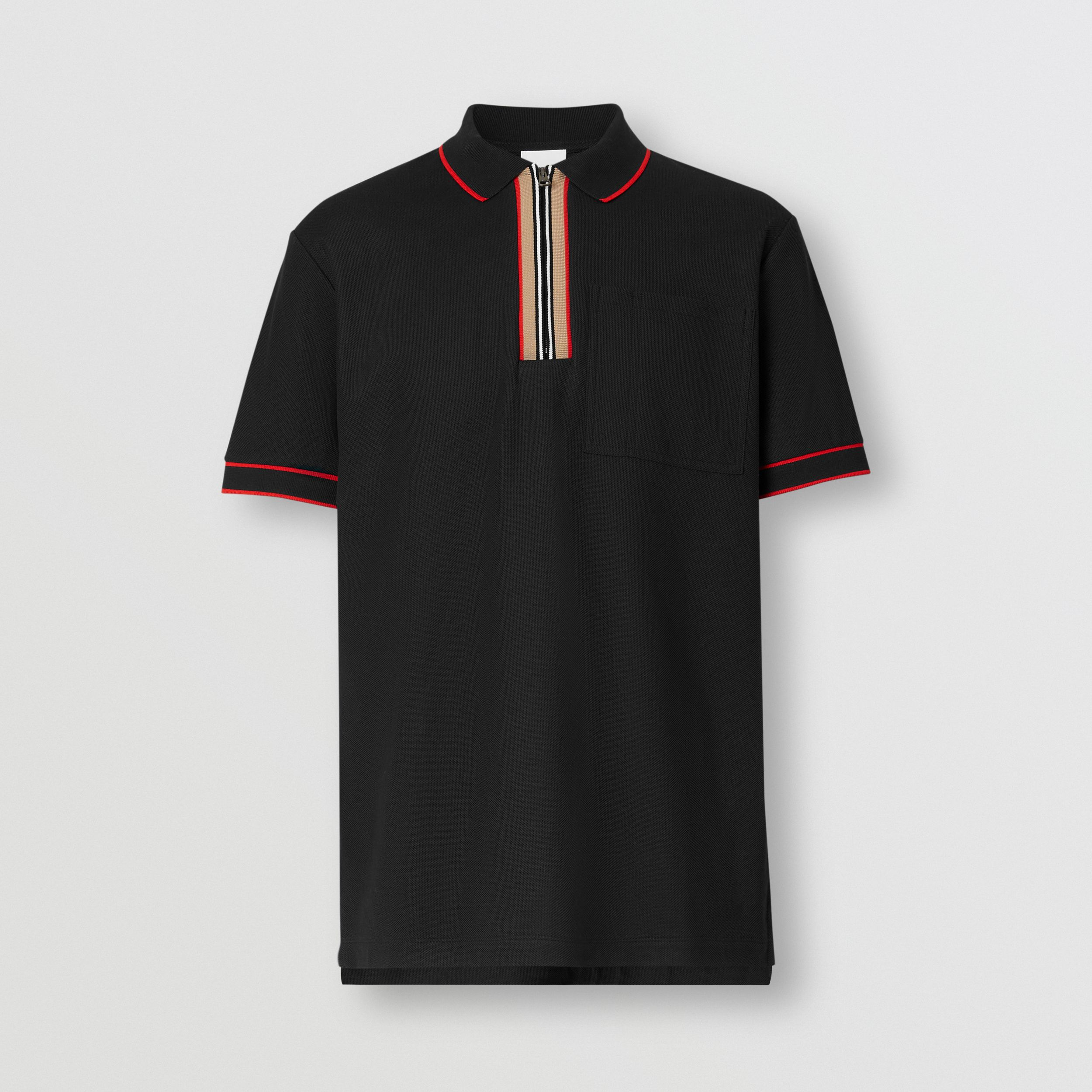 Icon Stripe Detail Cotton Zip-front Polo Shirt in Black - Men | Burberry - 4