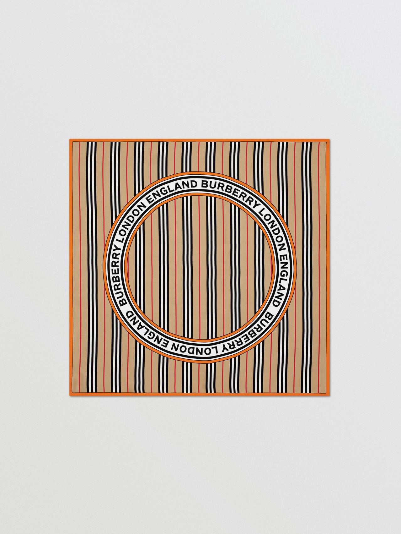 Icon Stripe and Logo Graphic Silk Square Scarf in Archive Beige