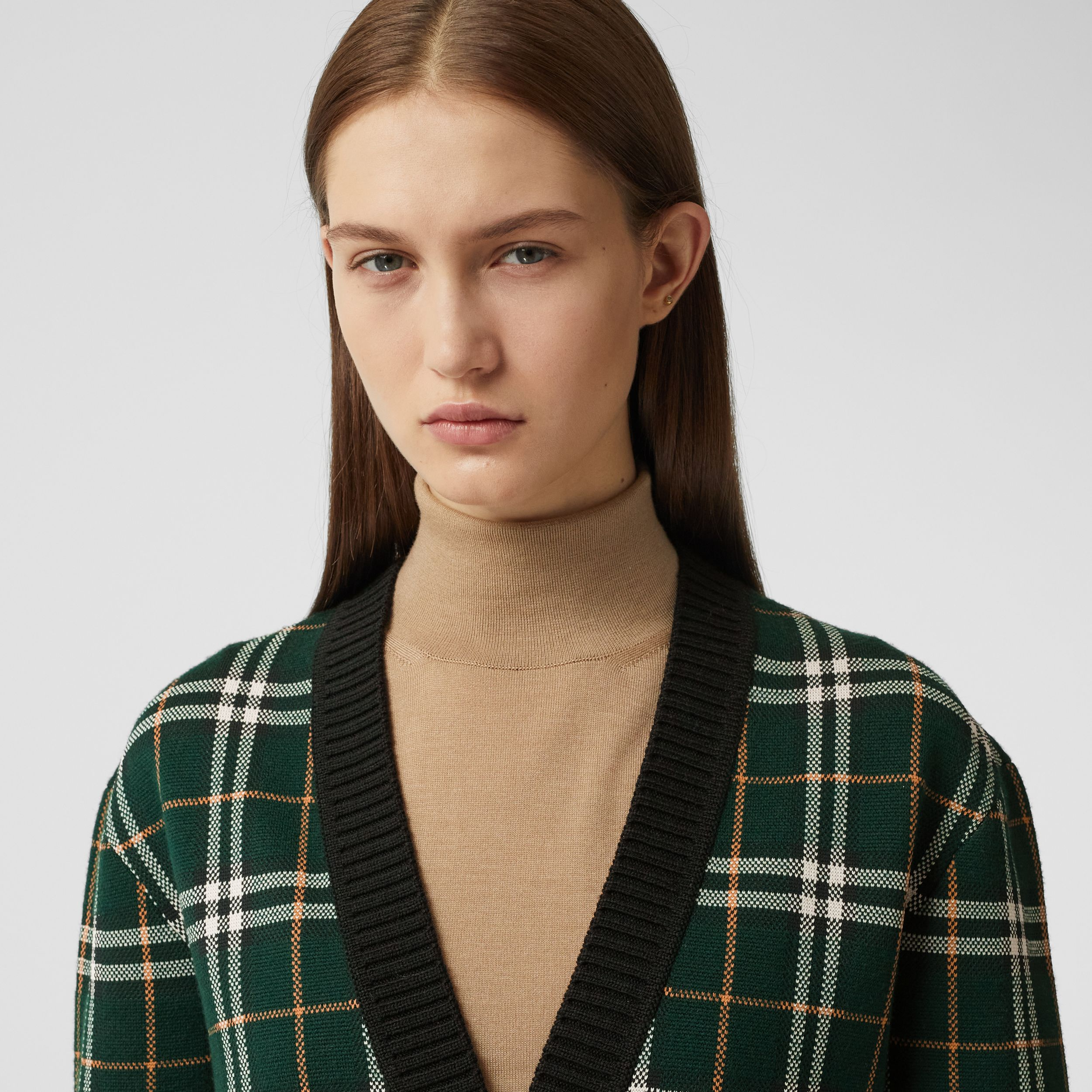 Check Technical Merino Wool Jacquard Cardigan in Bottle Green - Women | Burberry - 2