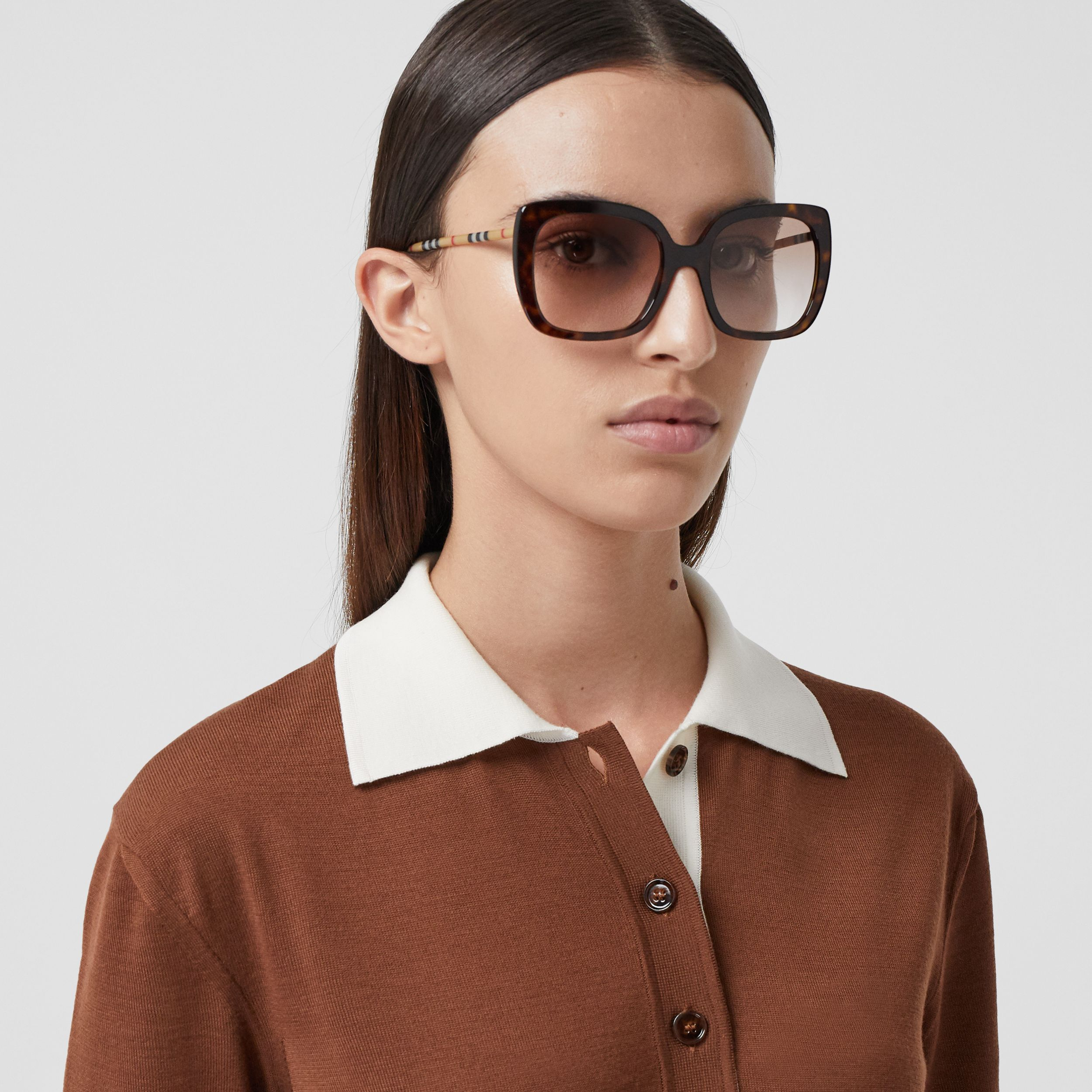 Oversized Square Frame Sunglasses in Tortoiseshell - Women | Burberry - 3