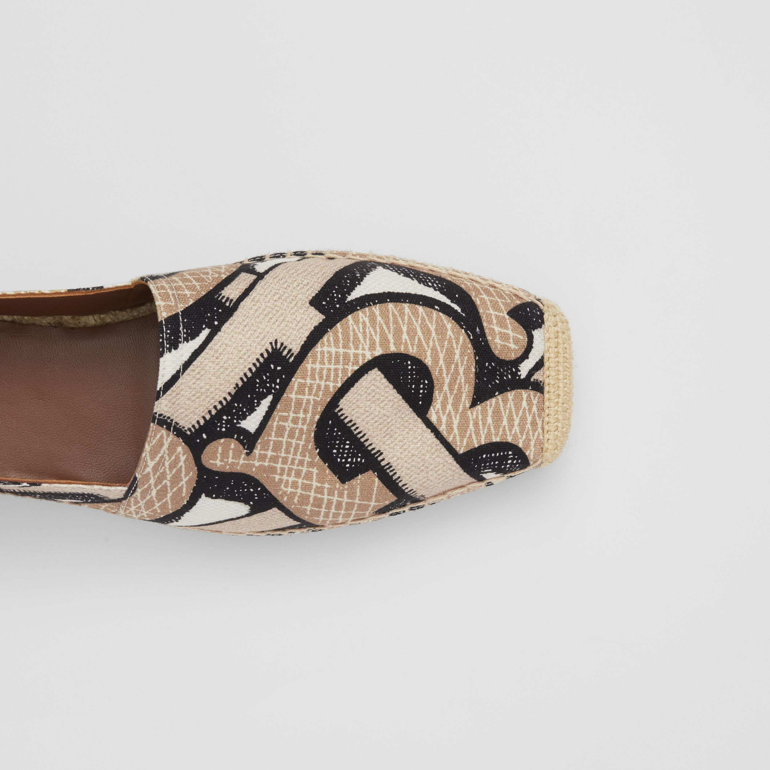 Monogram Print Cotton Canvas Espadrilles in Dark Beige - Women | Burberry Canada - 2