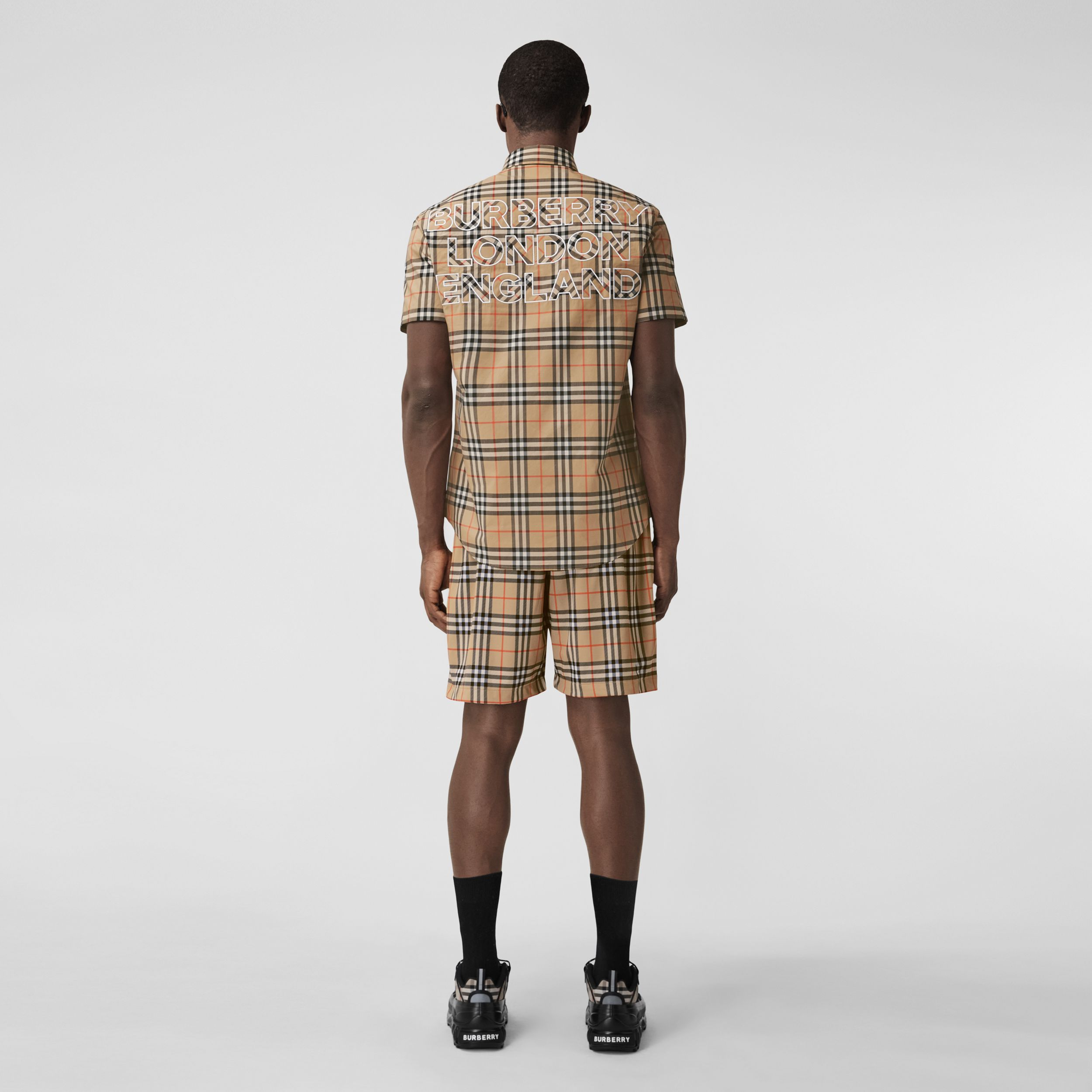 Short-sleeve Logo Appliqué Vintage Check Shirt in Archive Beige - Men | Burberry - 3