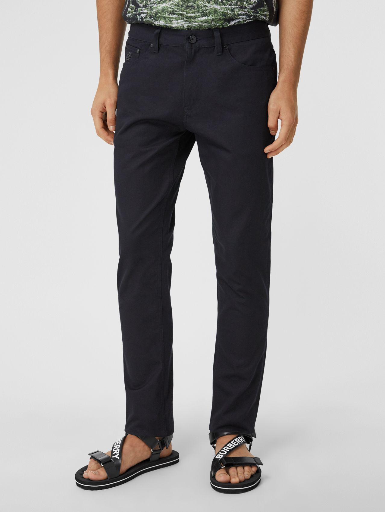 Slim Fit Cotton Chinos in Navy