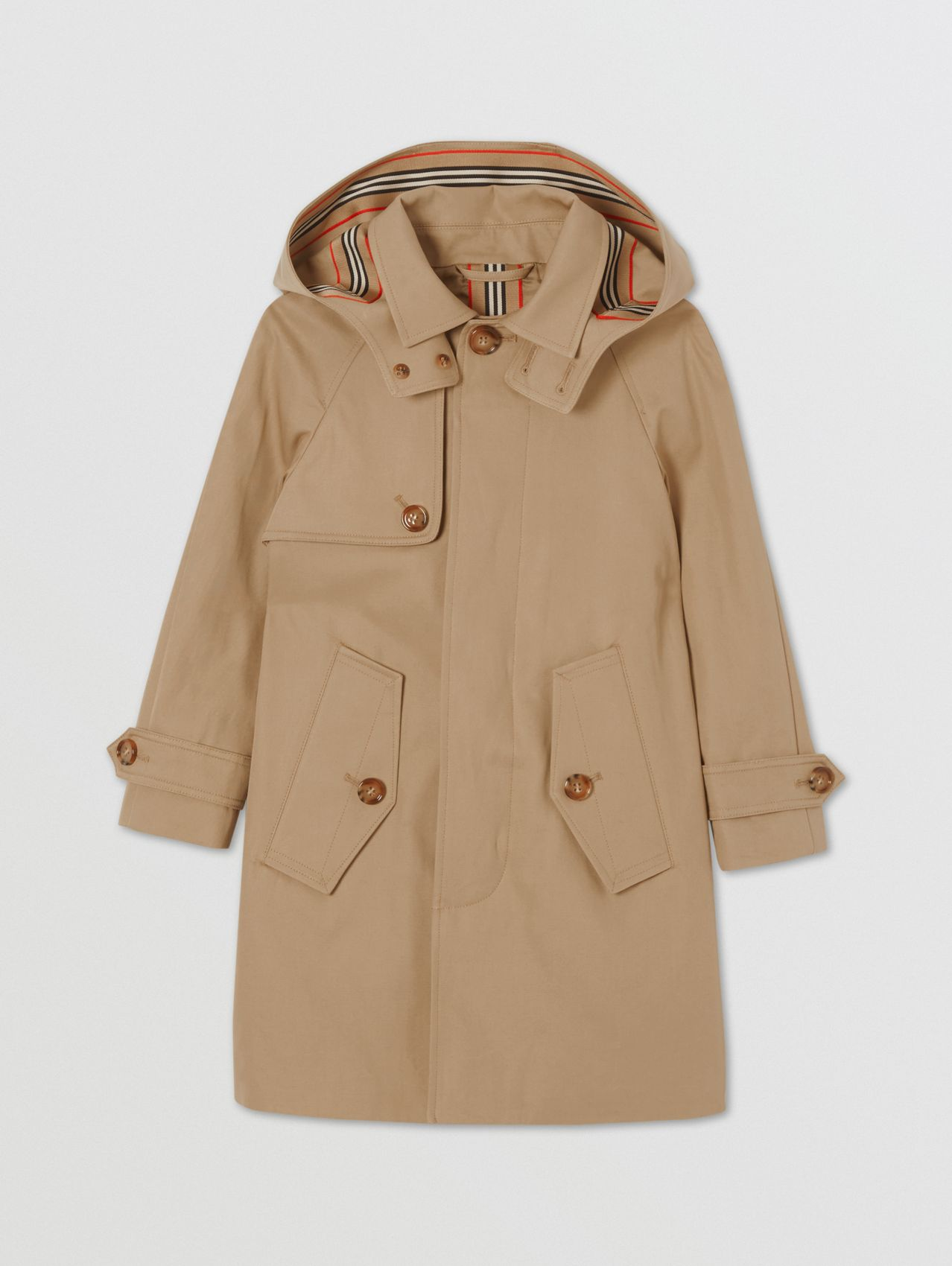 Detachable Hood Cotton Twill Car Coat in Archive Beige