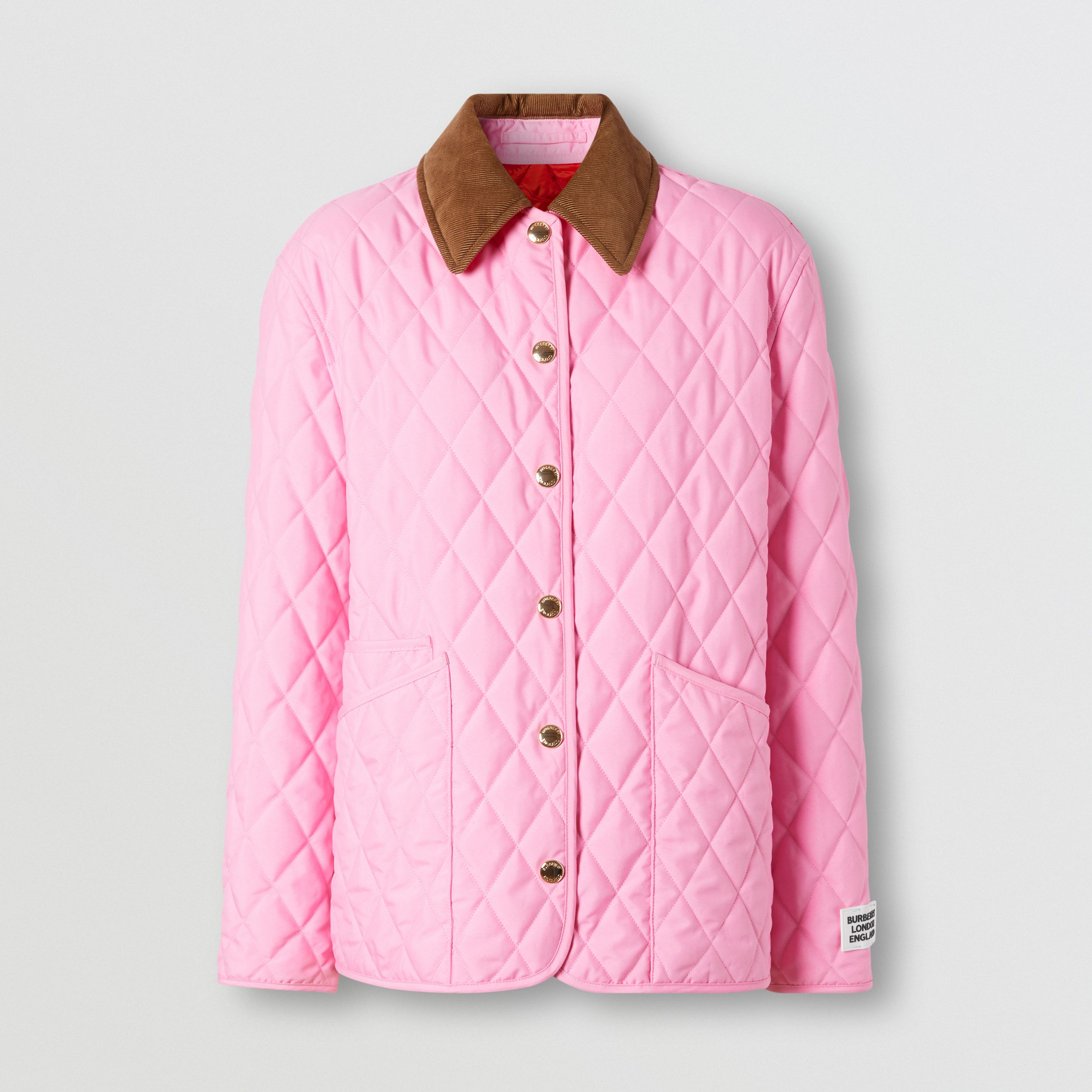 Corduroy Collar Diamond Quilted Jacket in Bubblegum Pink - Women | Burberry - 4