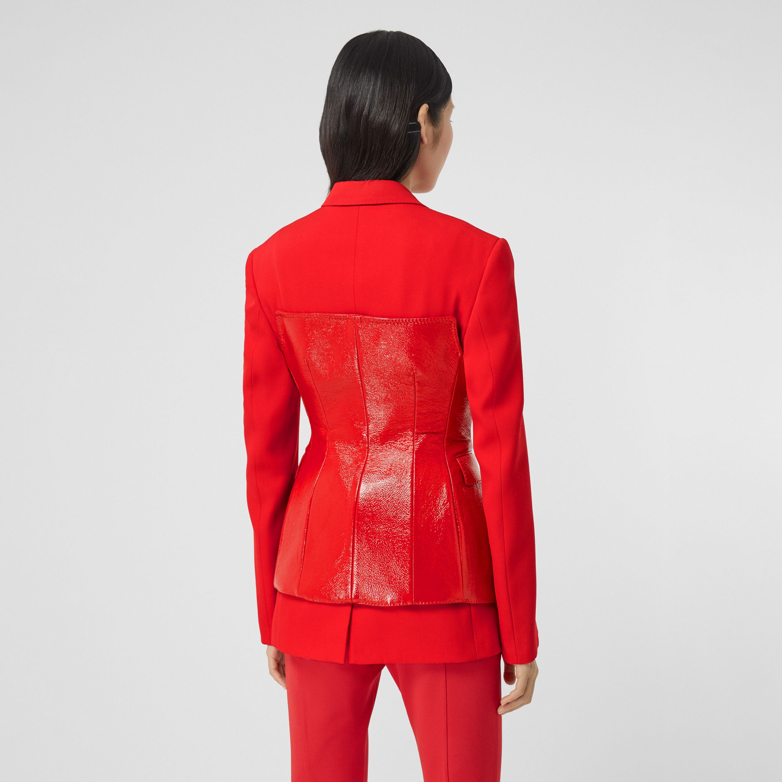 Vinyl Corset Detail Wool Tailored Jacket in Bright Red - Women | Burberry - 3