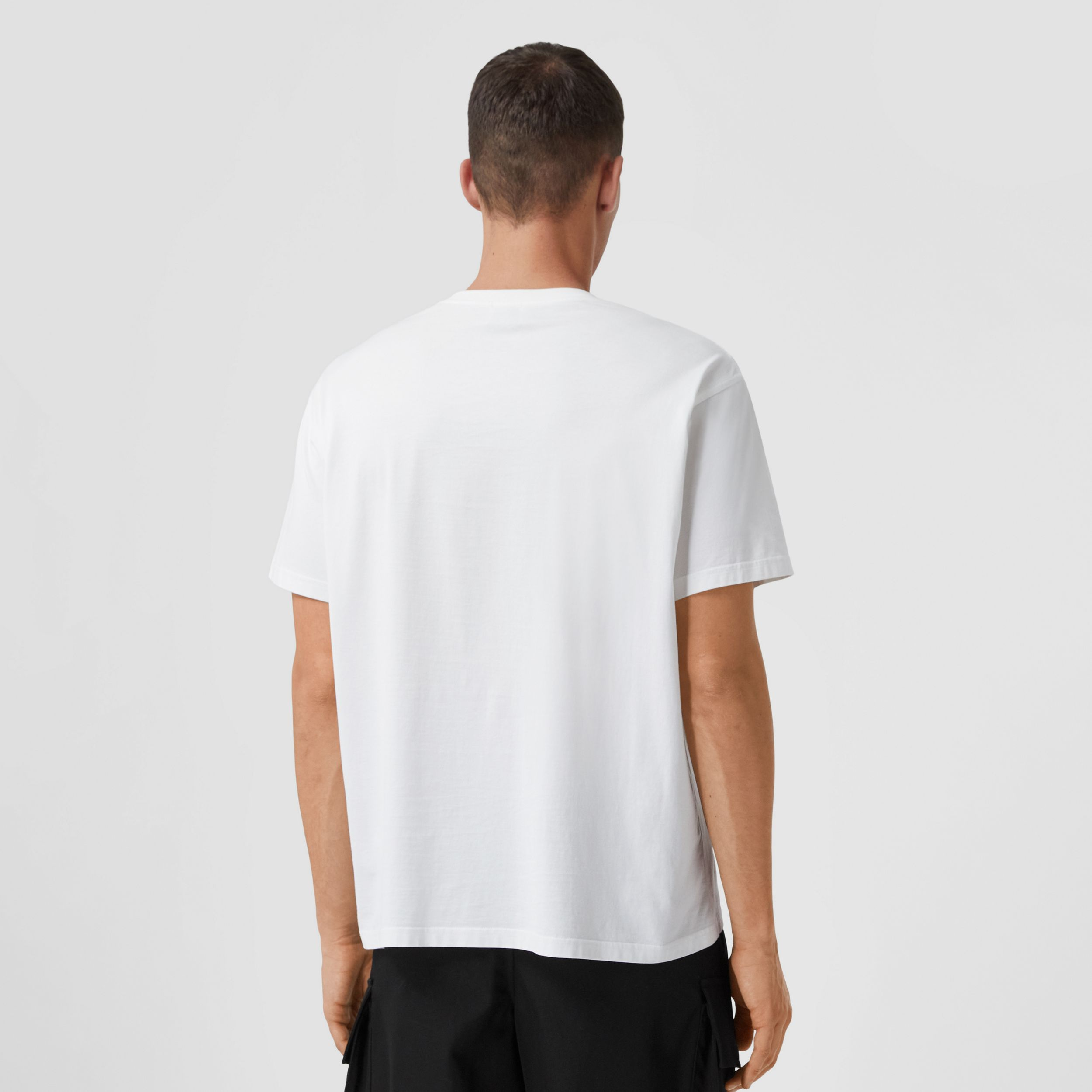 Monogram Motif Cotton Oversized T-shirt in White - Men | Burberry Australia - 3