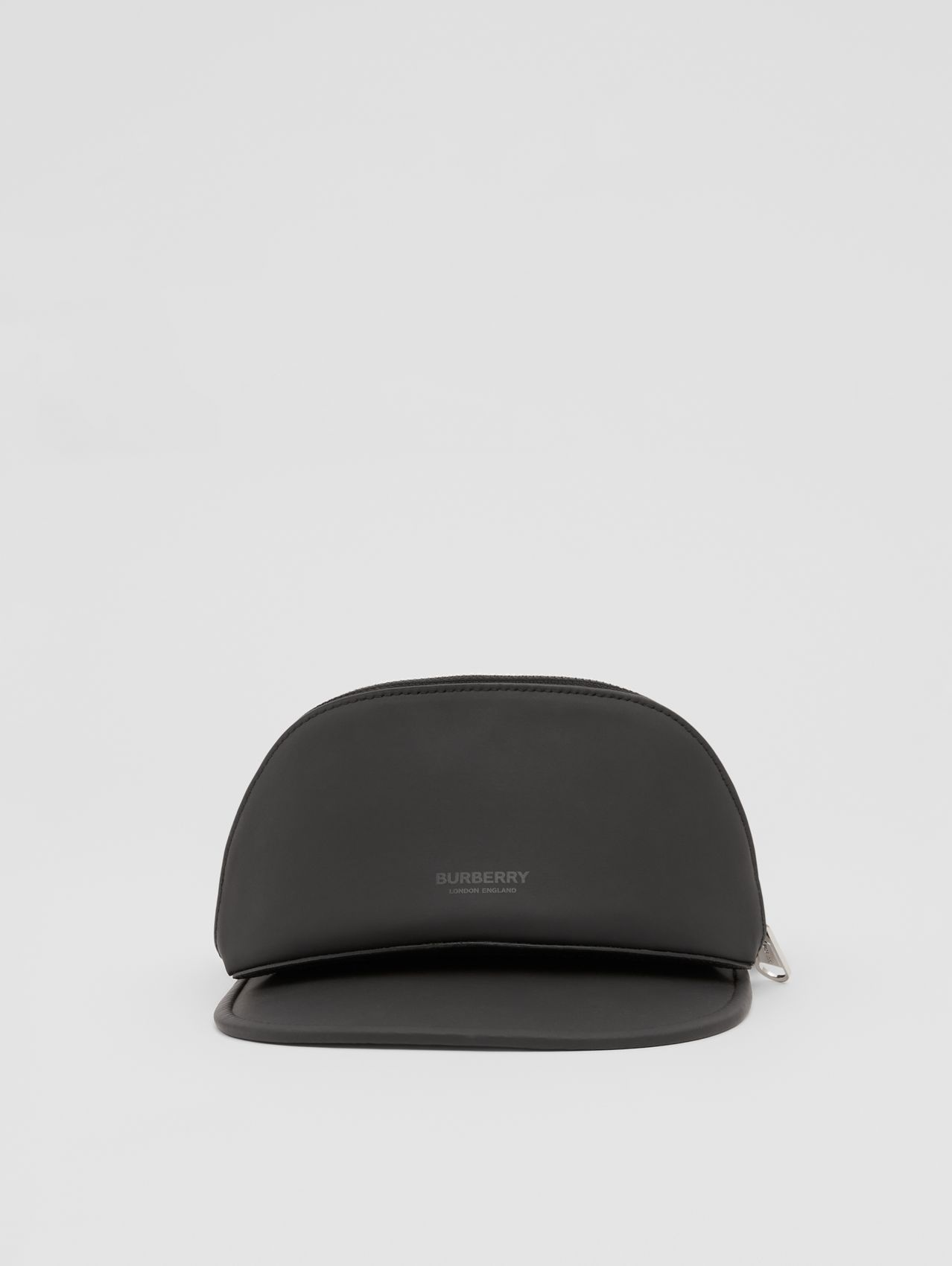 Rubberised Cotton Visor with Detachable Zip Pocket in Black