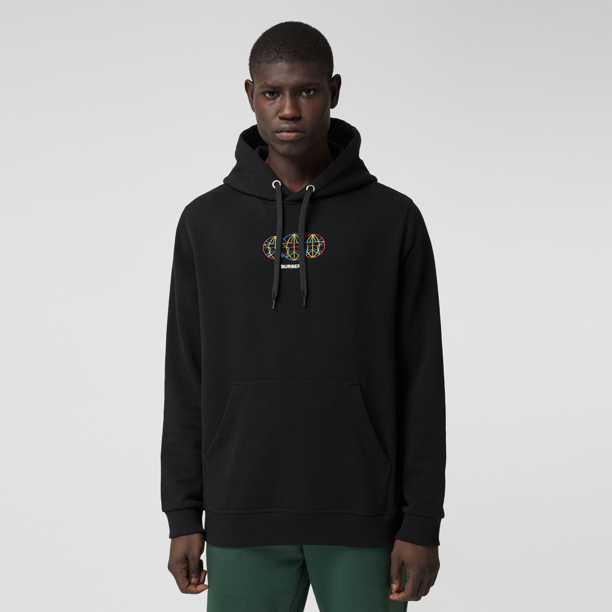 Embroidered Globe Graphic Cotton Hoodie in Black - Men | Burberry Australia - 1