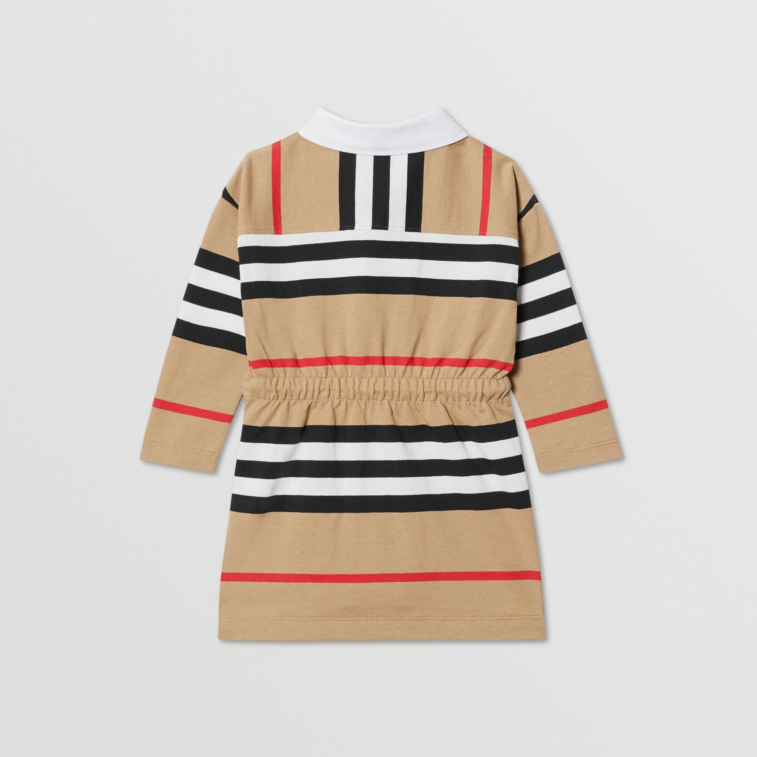 Long-sleeve Icon Stripe Cotton Dress in Archive Beige - Children | Burberry Hong Kong S.A.R. - 4