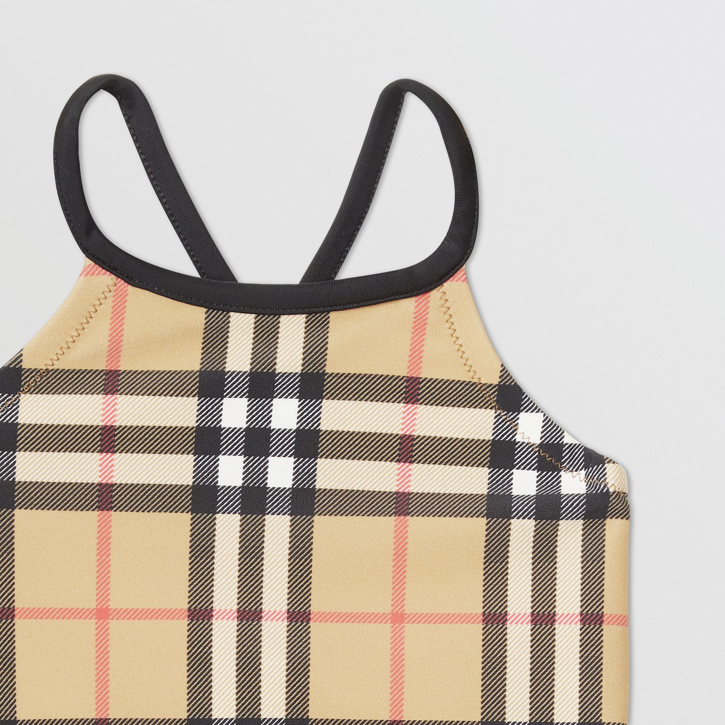 Vintage Check Recycled Nylon Swimsuit in Archive Beige - Children | Burberry Australia - 3