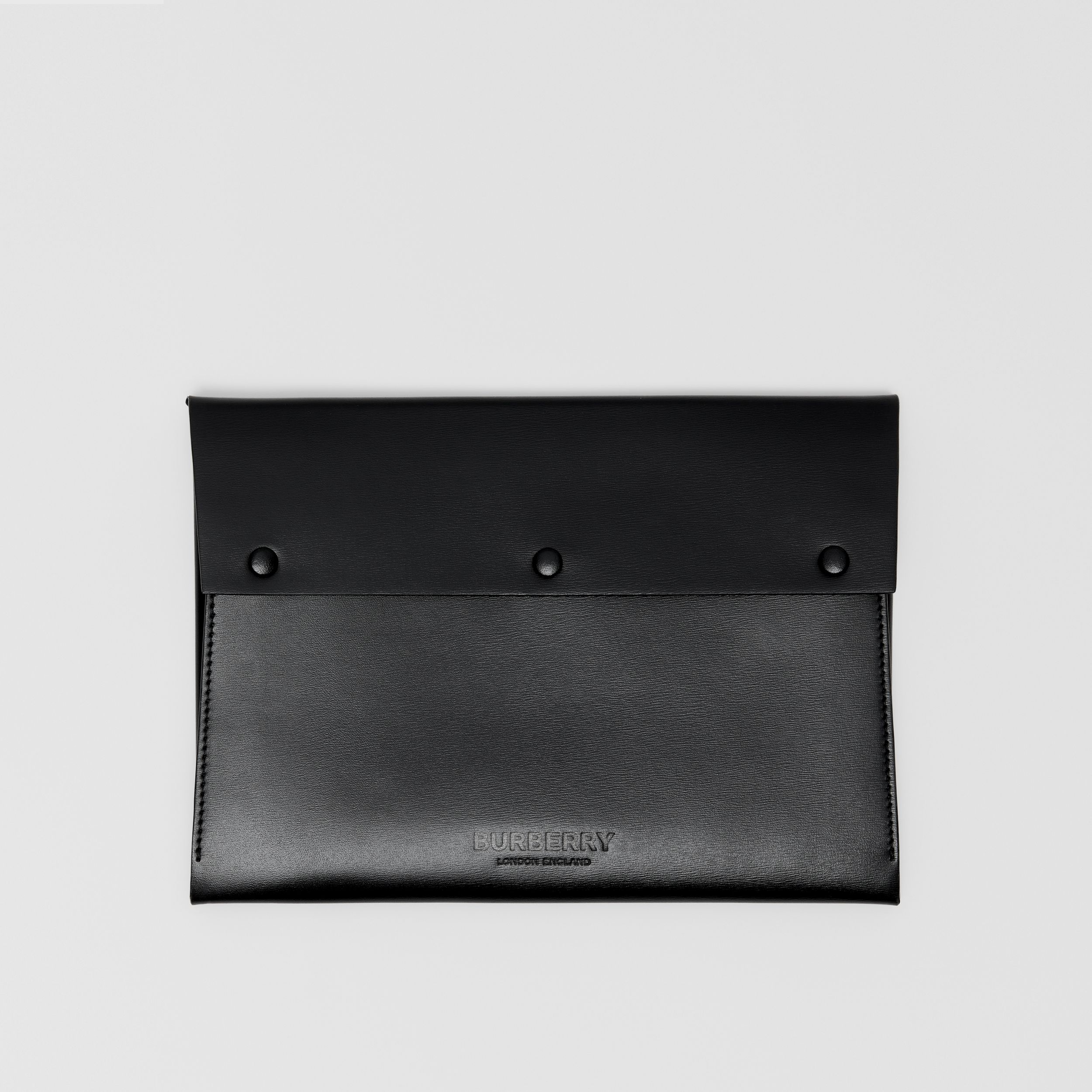 Large Suede and Leather Envelope Pouch in Black | Burberry Australia - 1