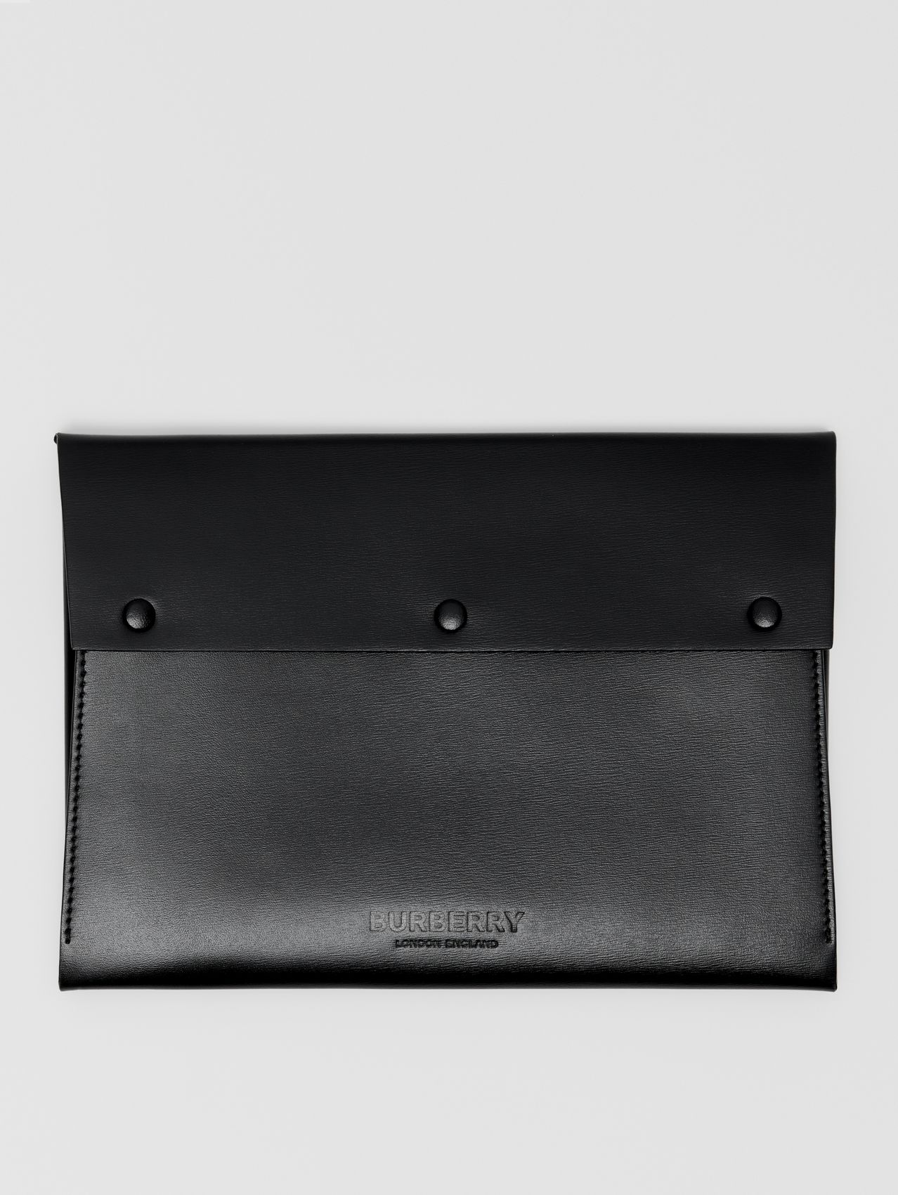 Large Suede and Leather Envelope Pouch in Black