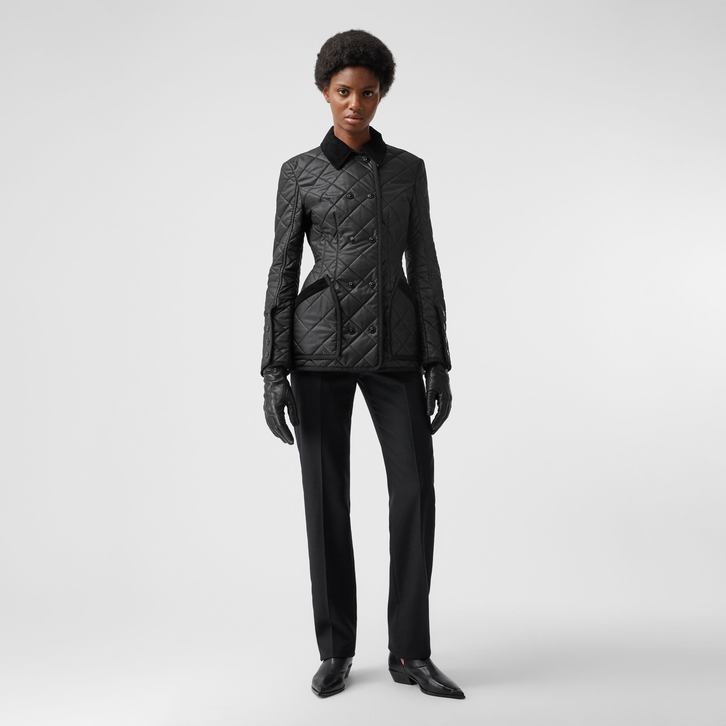 Diamond Quilted Waxed Cotton Riding Jacket in Black - Women | Burberry - 1