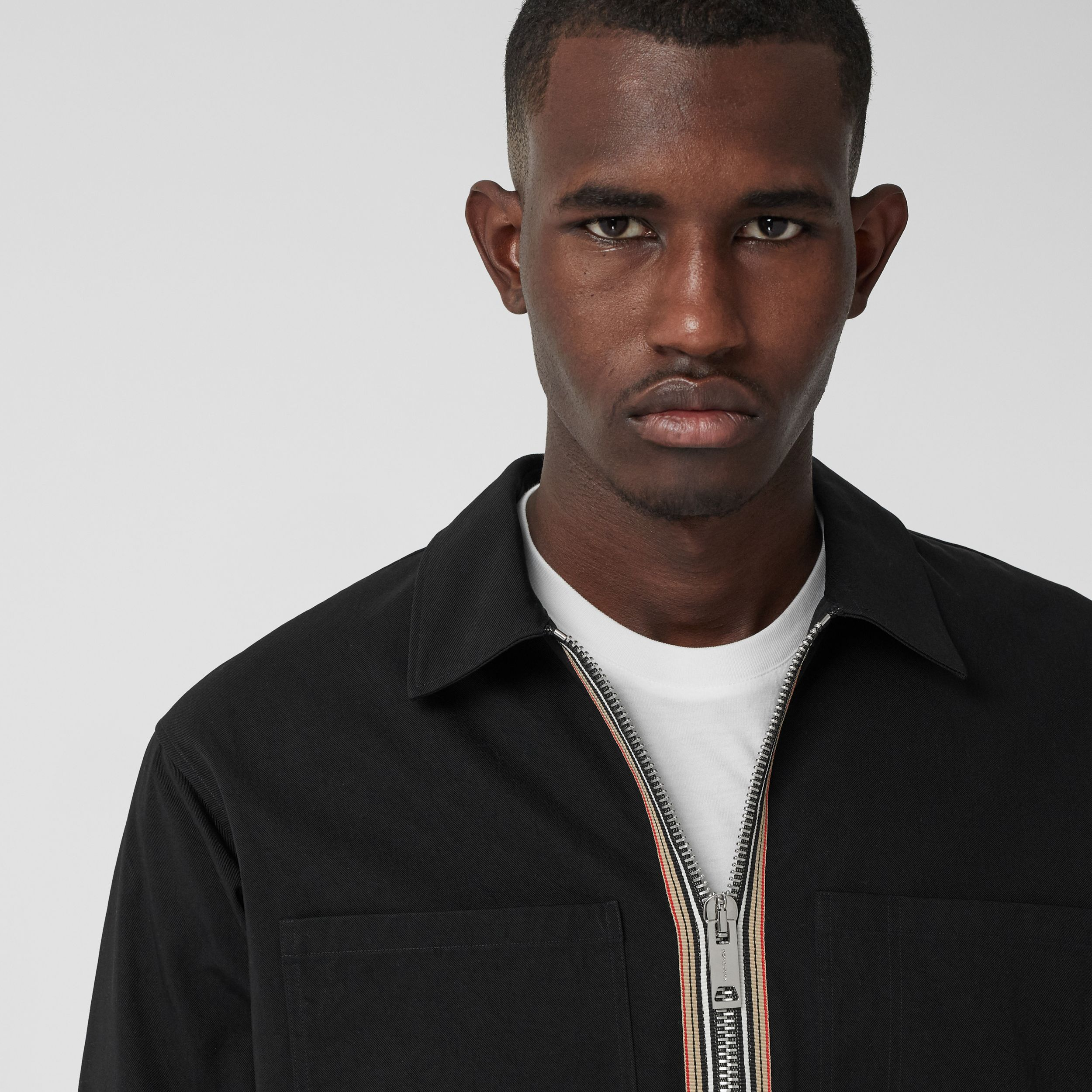 Stripe Detail Technical Twill Zip-front Shirt in Black - Men | Burberry Australia - 2
