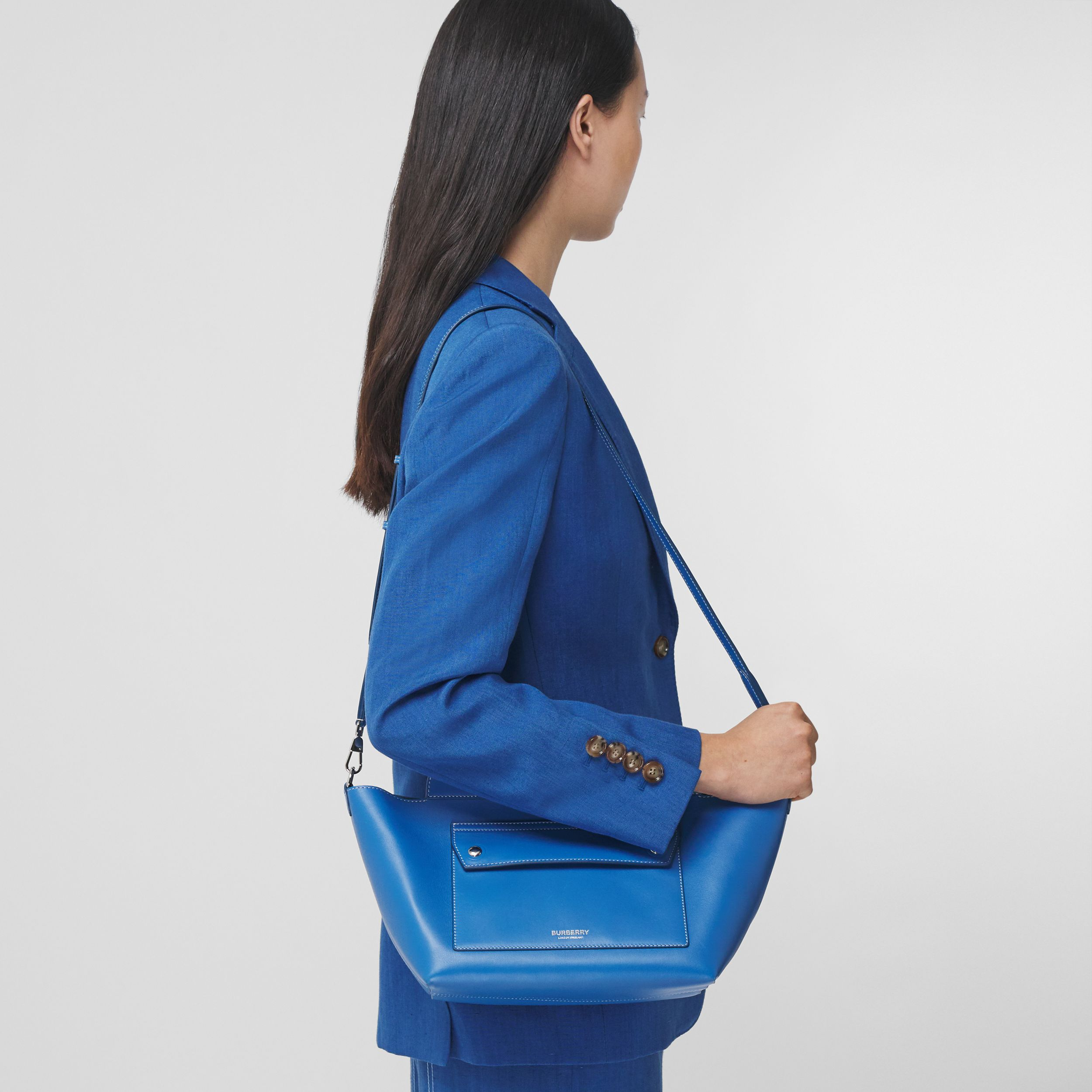 Mini Leather Soft Pocket Tote in Warm Royal Blue - Women | Burberry Australia - 3