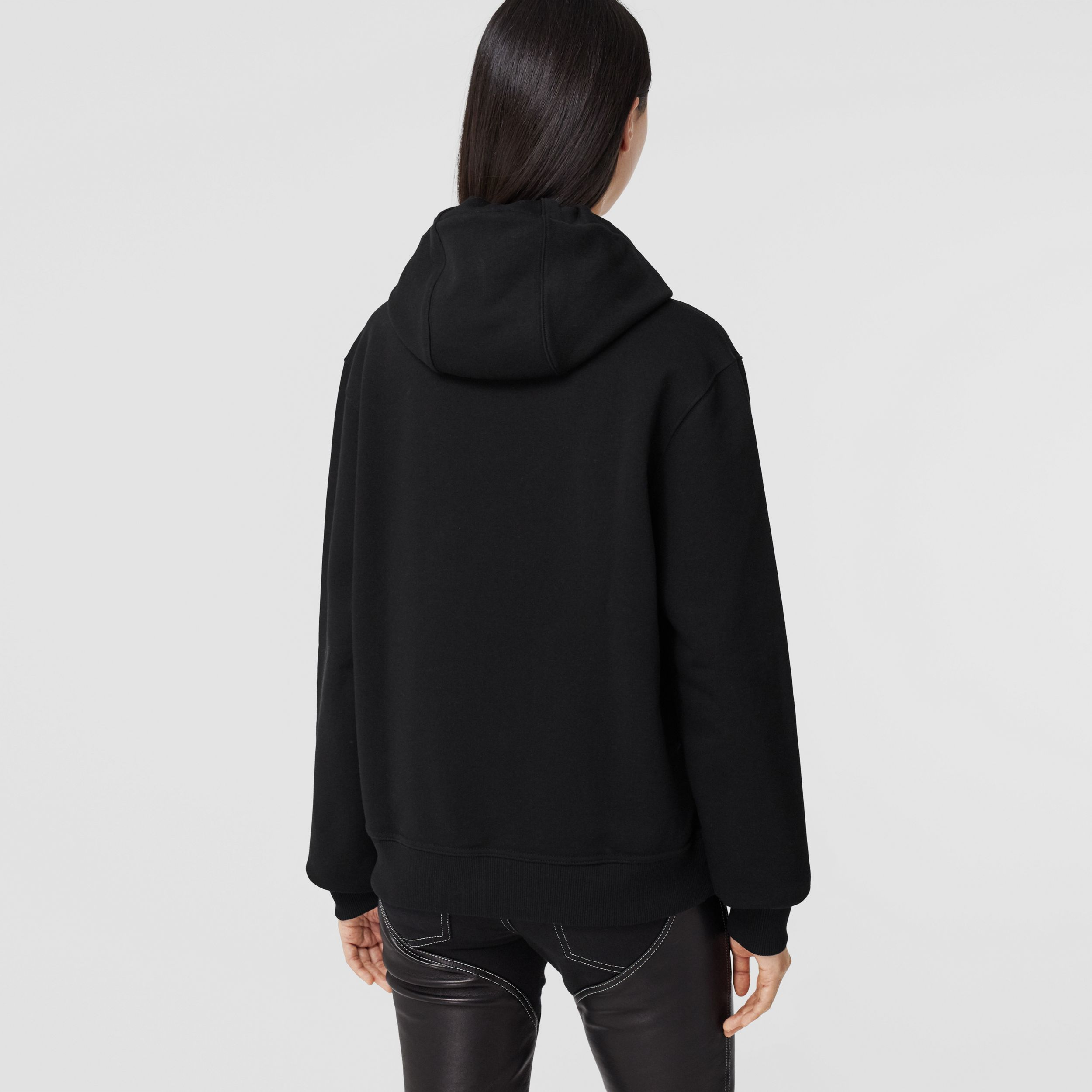 Shark Print Cotton Oversized Hoodie in Black - Women | Burberry United Kingdom - 3