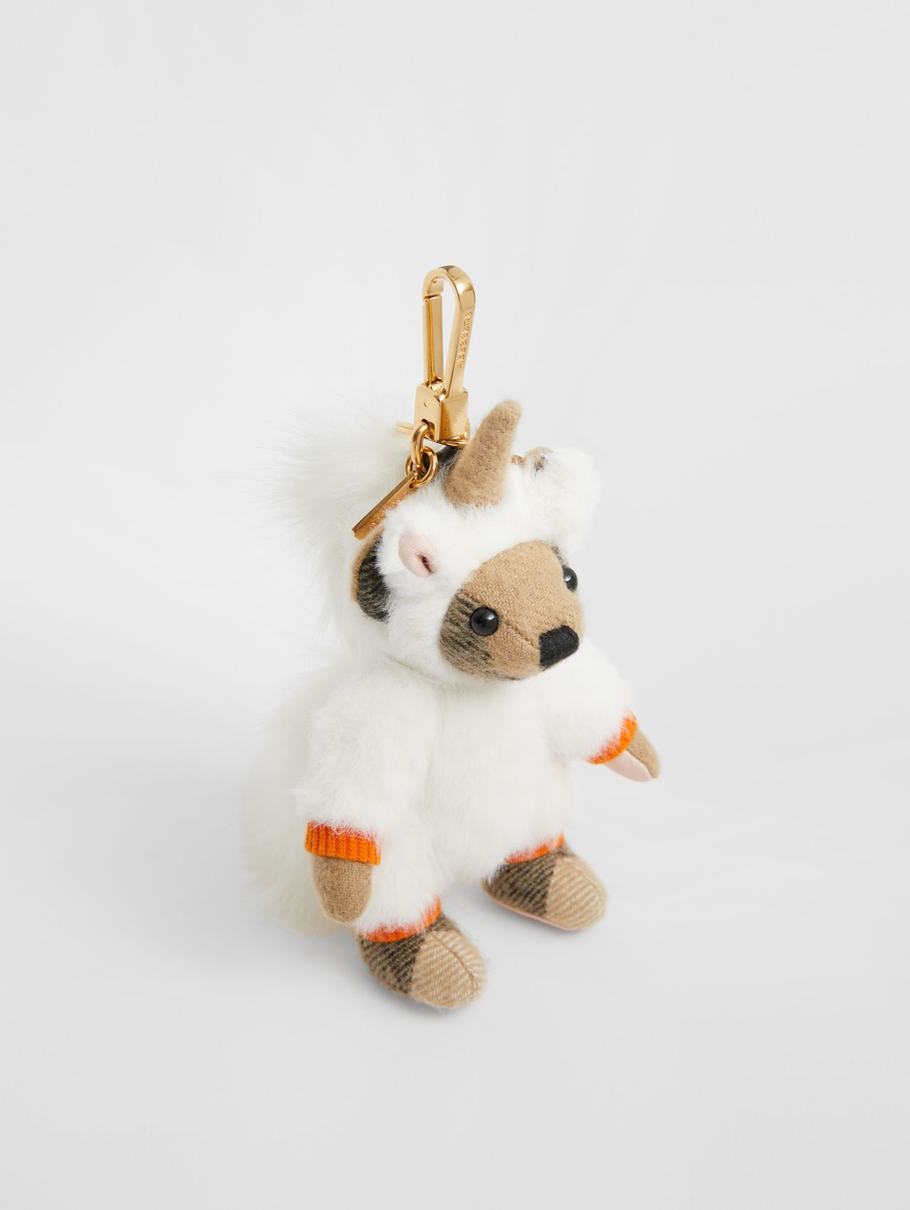 Thomas Bear Charm in Unicorn Costume in Orange/light Pink