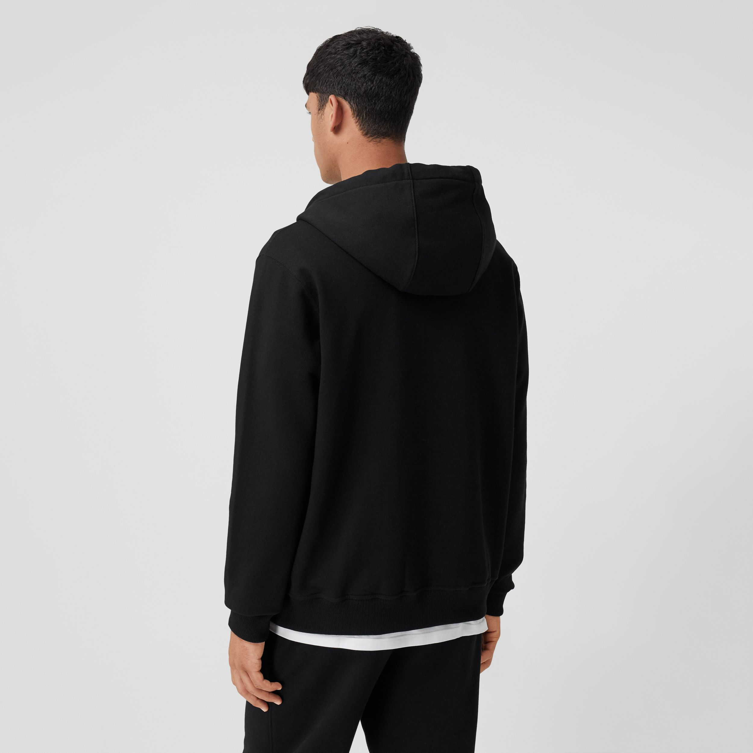 Icon Stripe Detail Organic Cotton Hooded Top in Black - Men | Burberry - 3