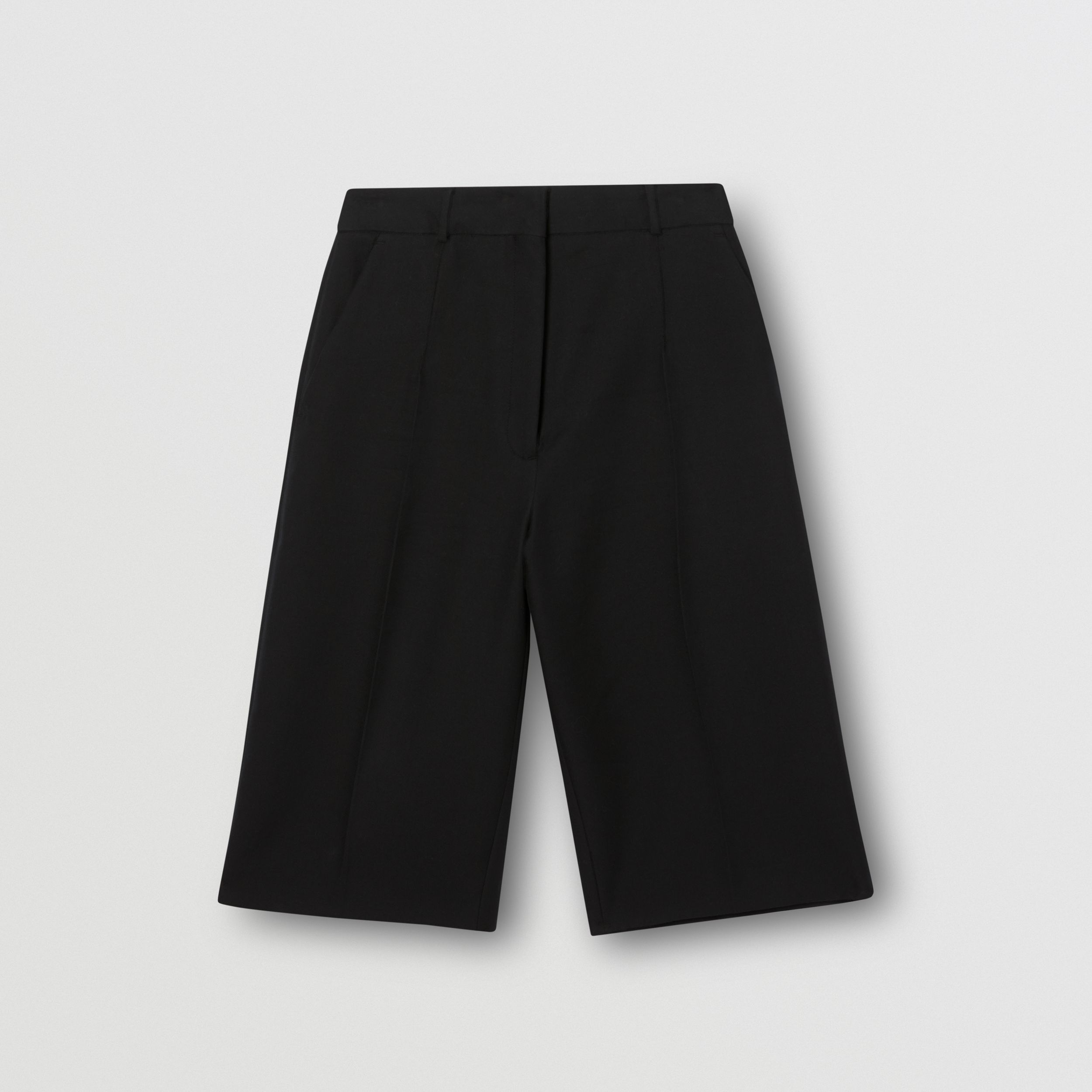 Cotton Twill Wide-leg Shorts in Black - Women | Burberry - 4