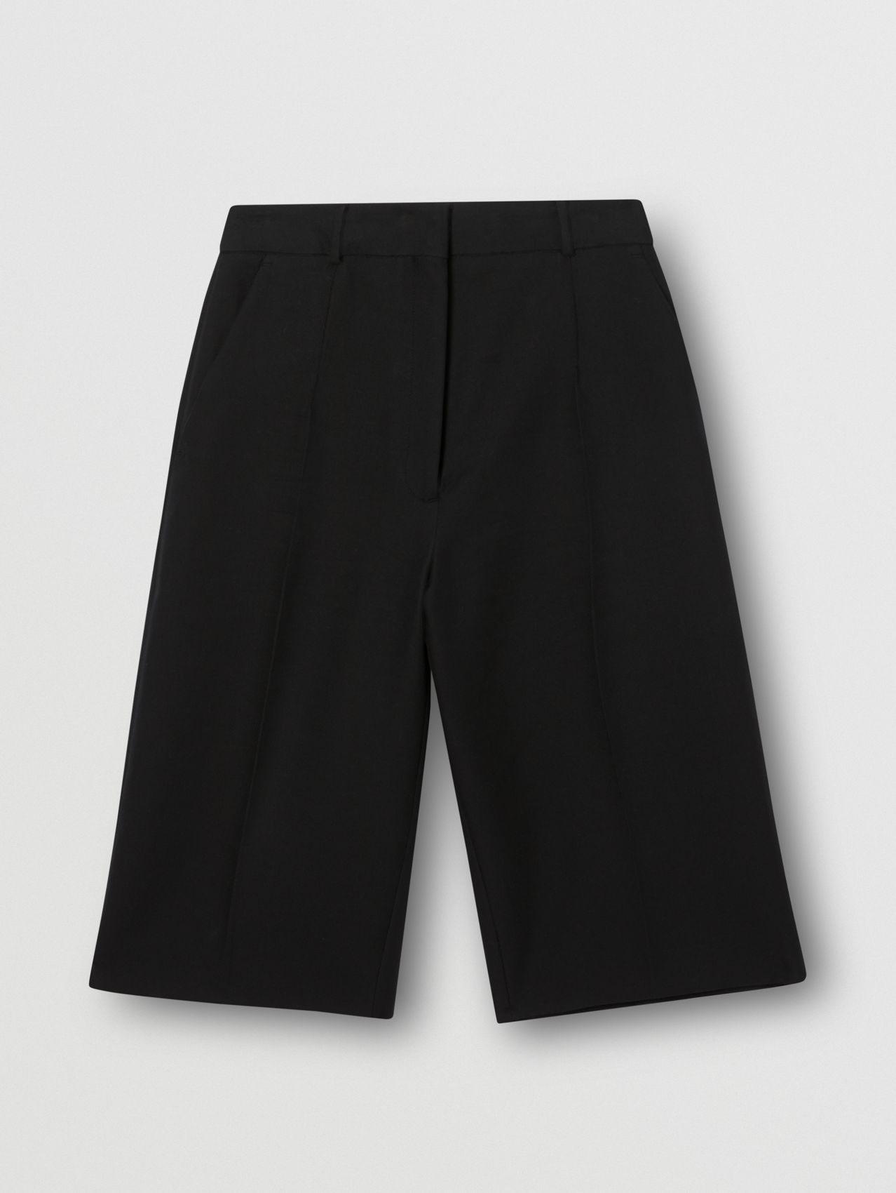 Cotton Twill Wide-leg Shorts in Black