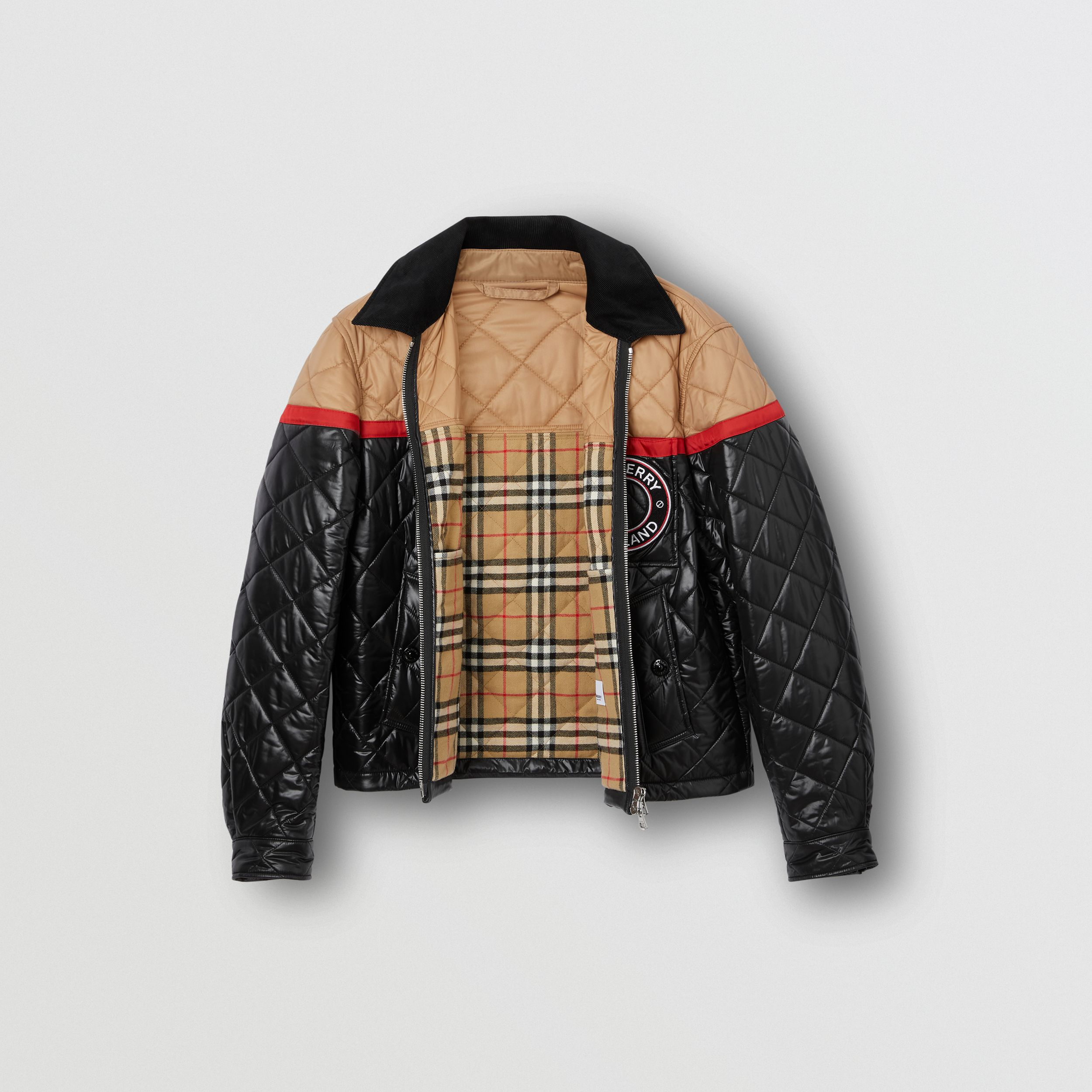 Veste Harrington en nylon recyclé color-block (Noir) - Homme | Burberry Canada - 2