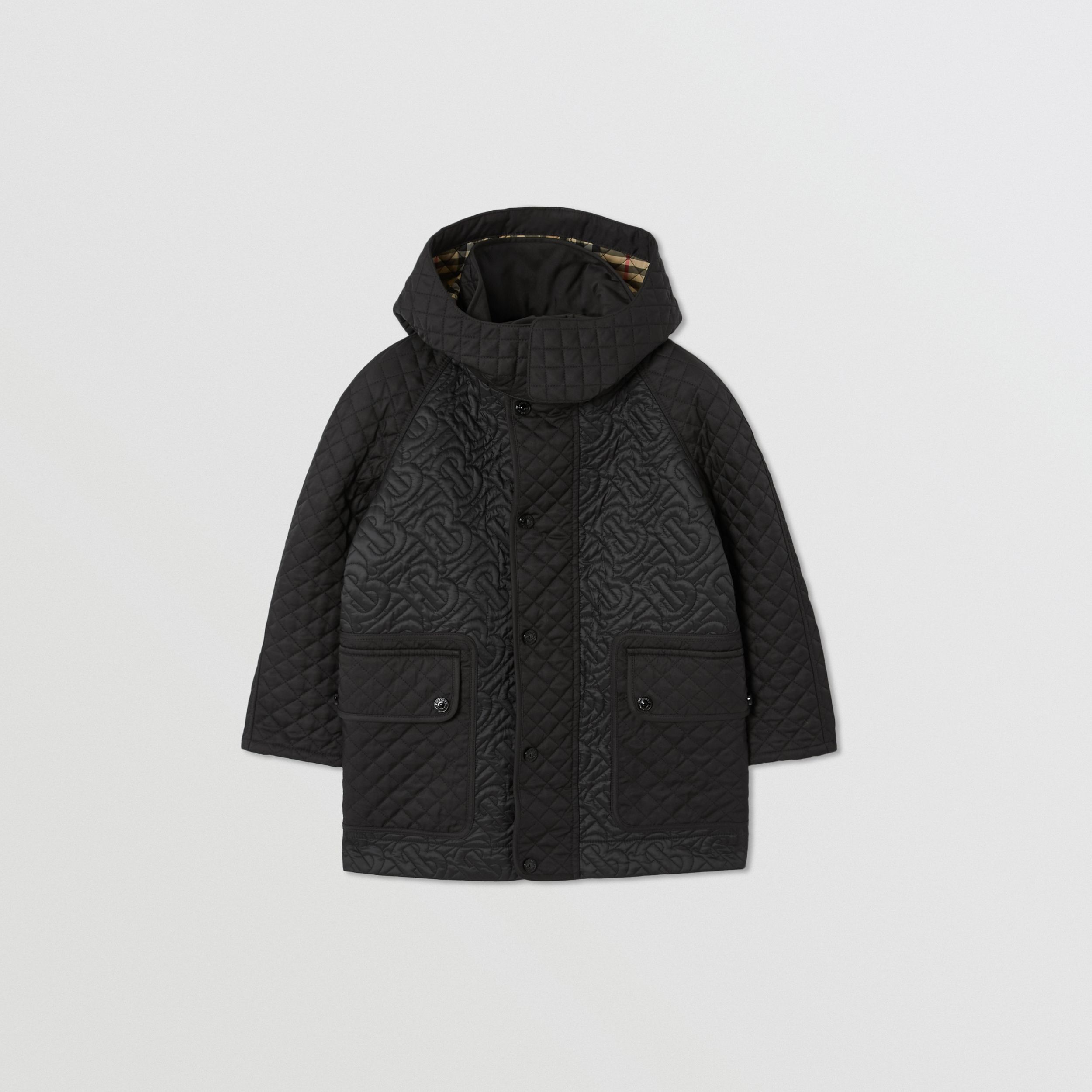 Detachable Hood Monogram Quilted Coat in Black | Burberry - 1