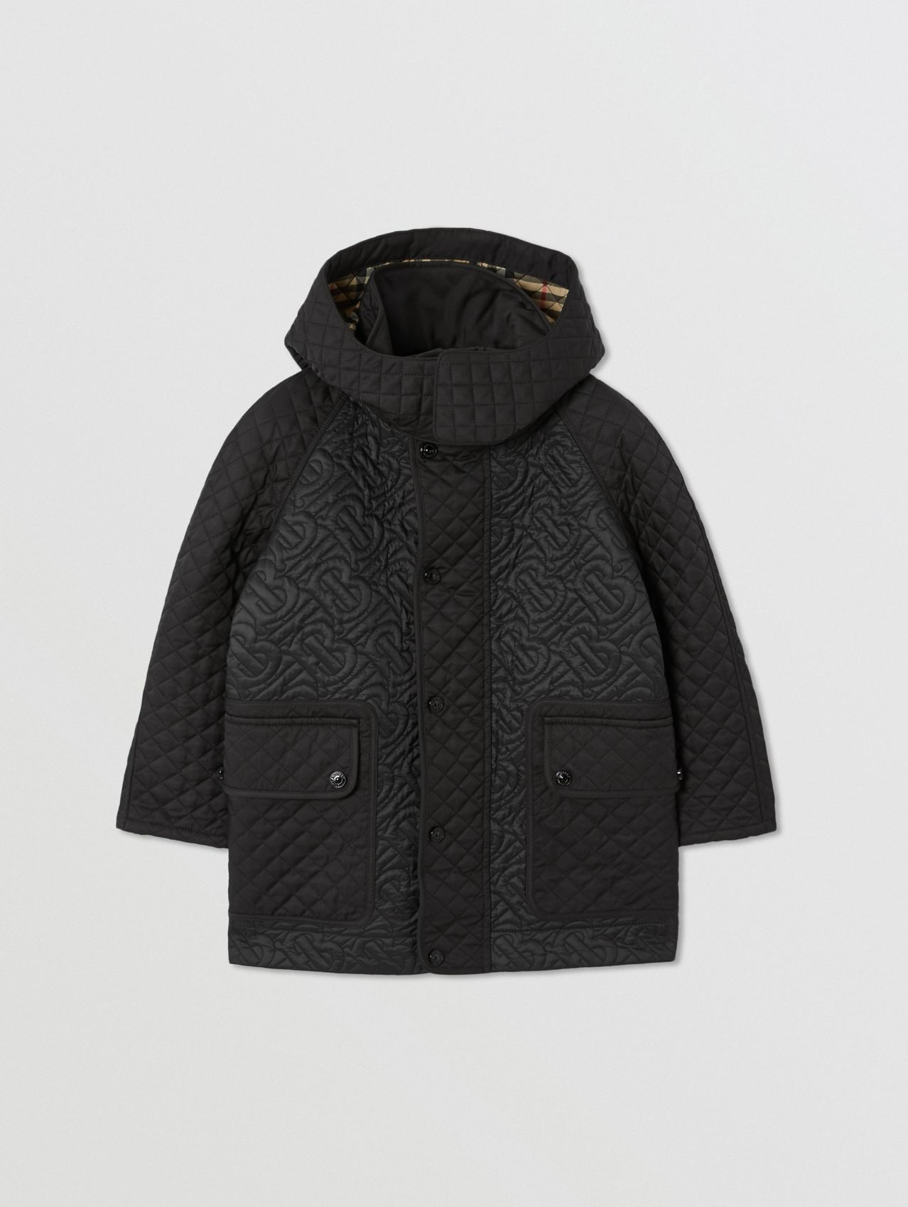 Detachable Hood Monogram Quilted Coat in Black