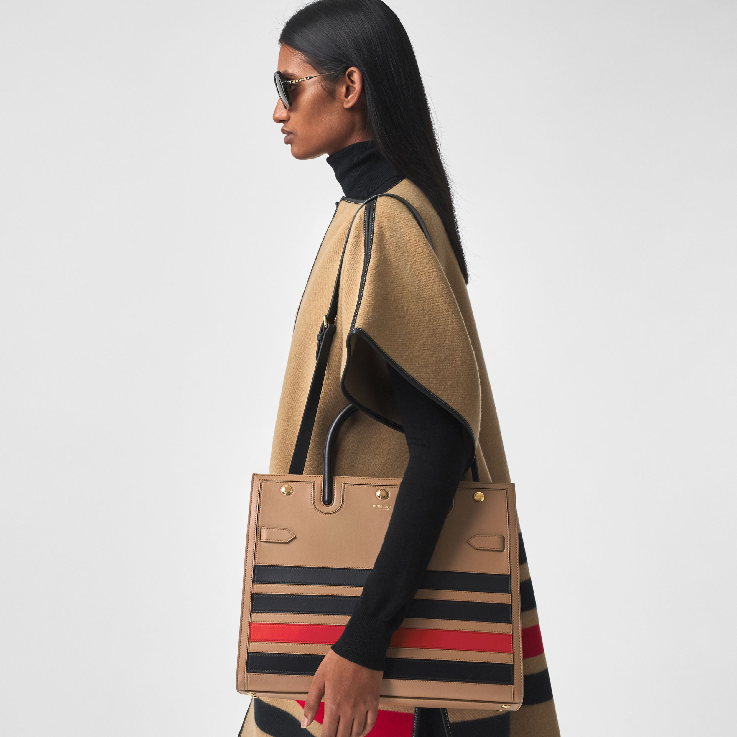 Medium Striped Intarsia Leather Two-handle Title Bag in Camel - Women | Burberry Australia - 3