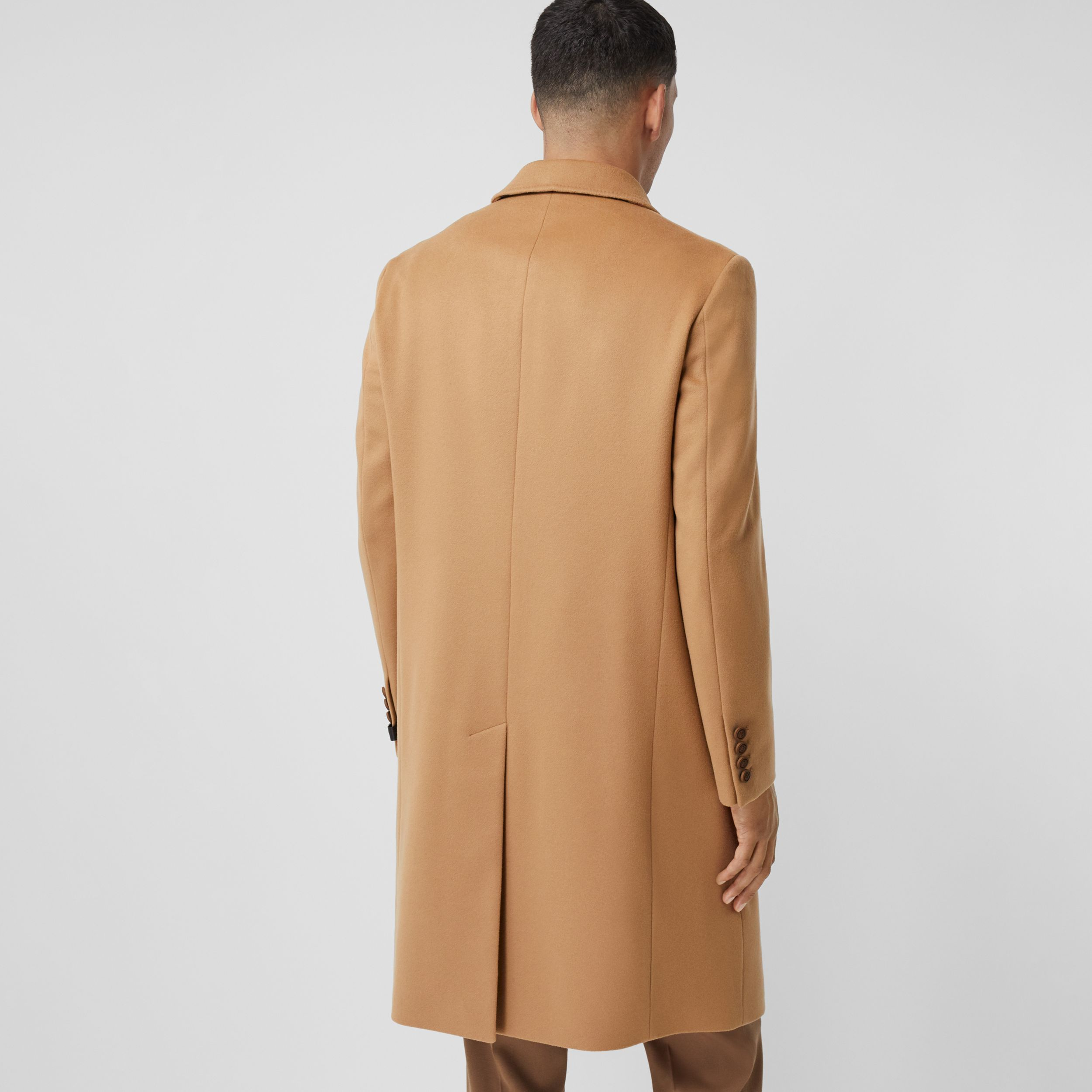 Button Detail Wool Cashmere Tailored Coat in Camel - Men | Burberry - 3