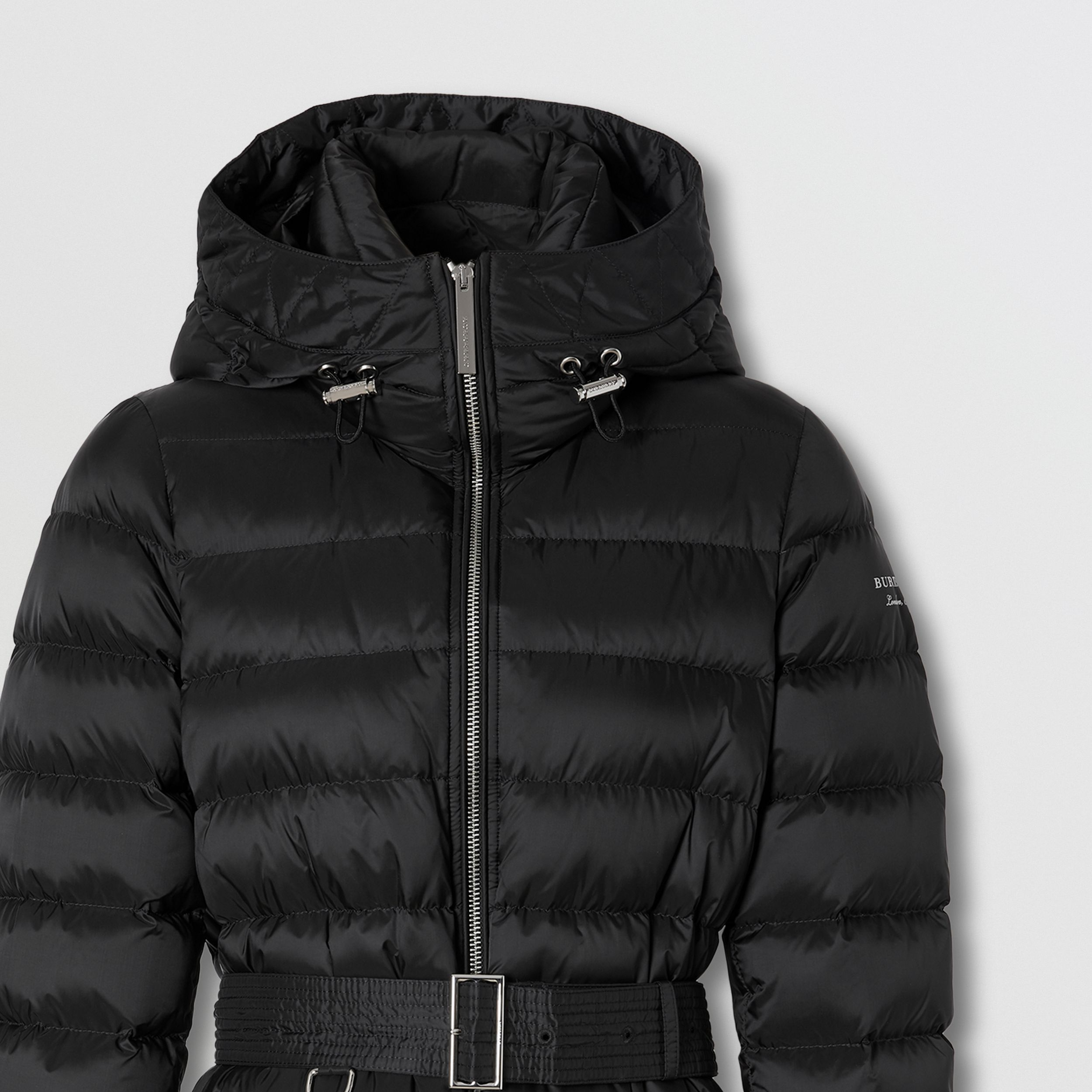 Logo Print Hooded Puffer Coat in Black - Women | Burberry - 2