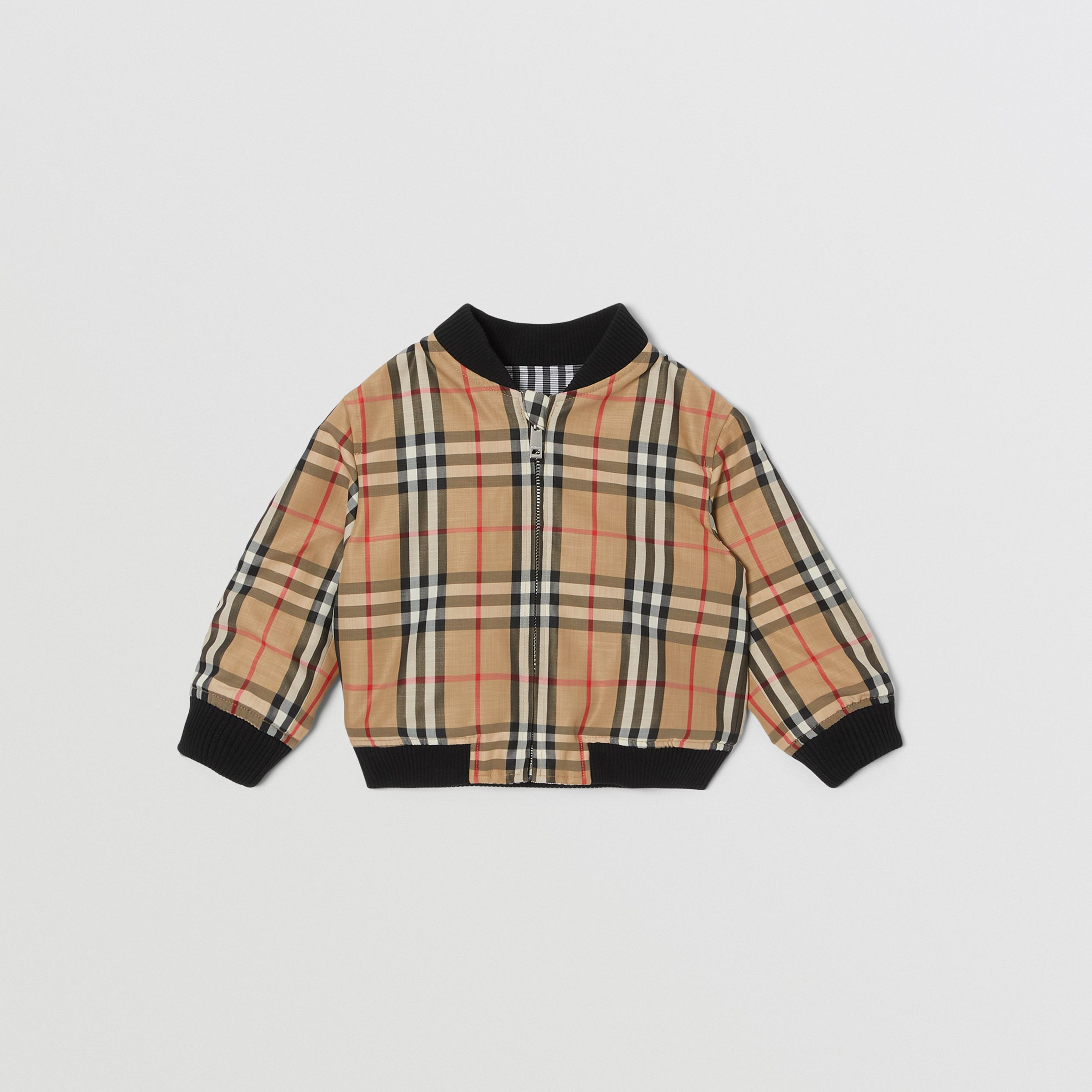 Reversible Check Cotton Bomber Jacket in Black - Children | Burberry - 4