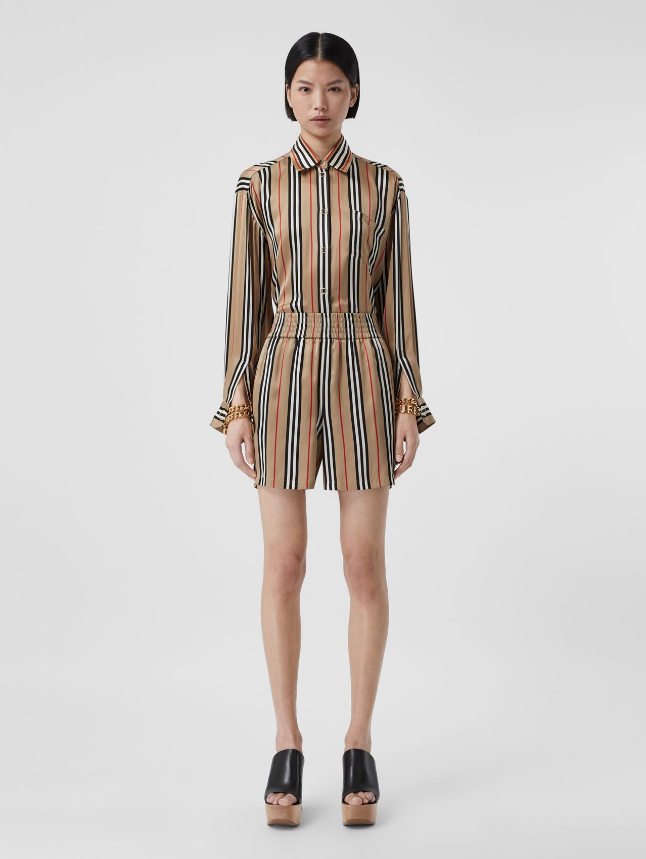 Icon Stripe Silk Shorts in Archive Beige