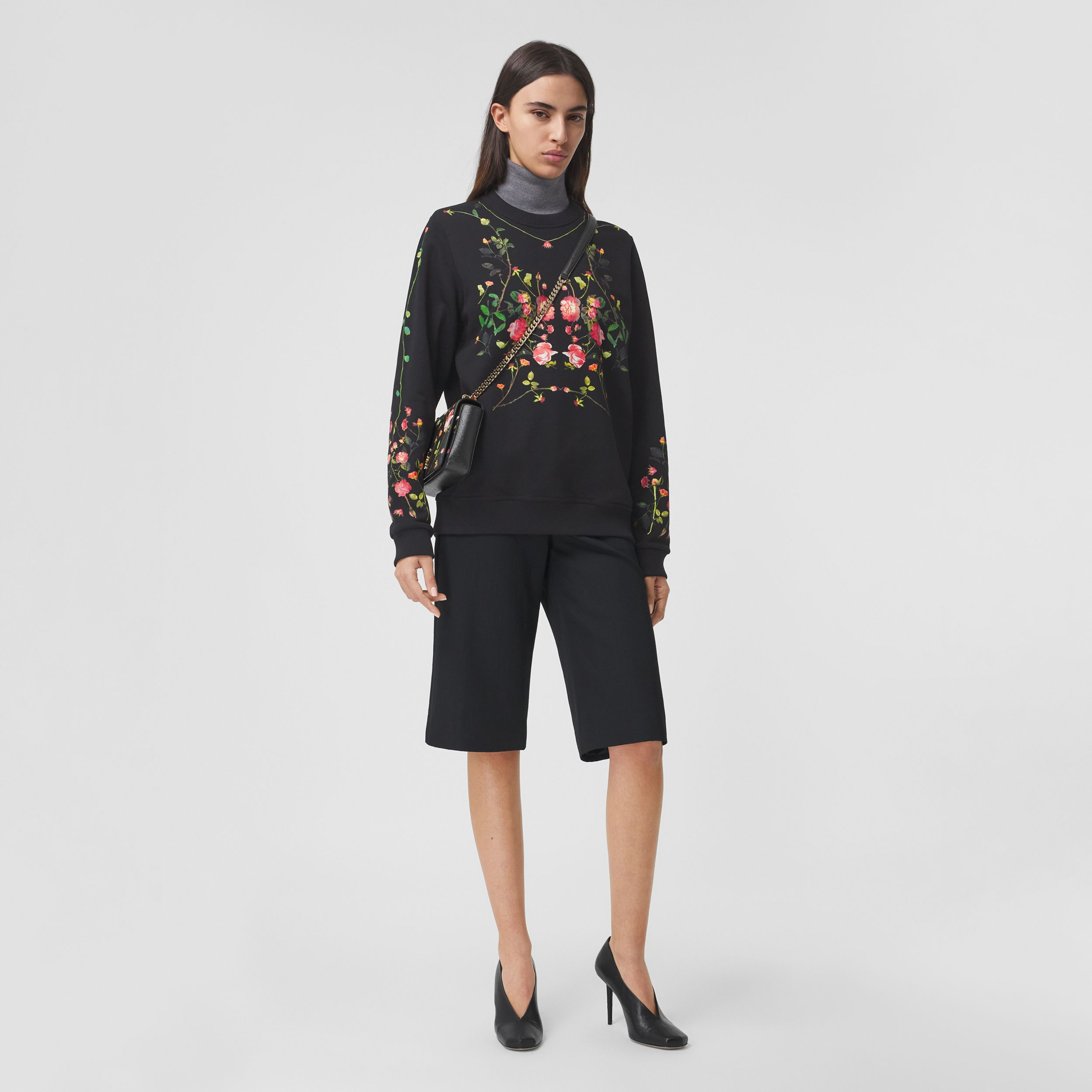 Rose Print Cotton Oversized Sweatshirt in Black - Women | Burberry Australia - 1