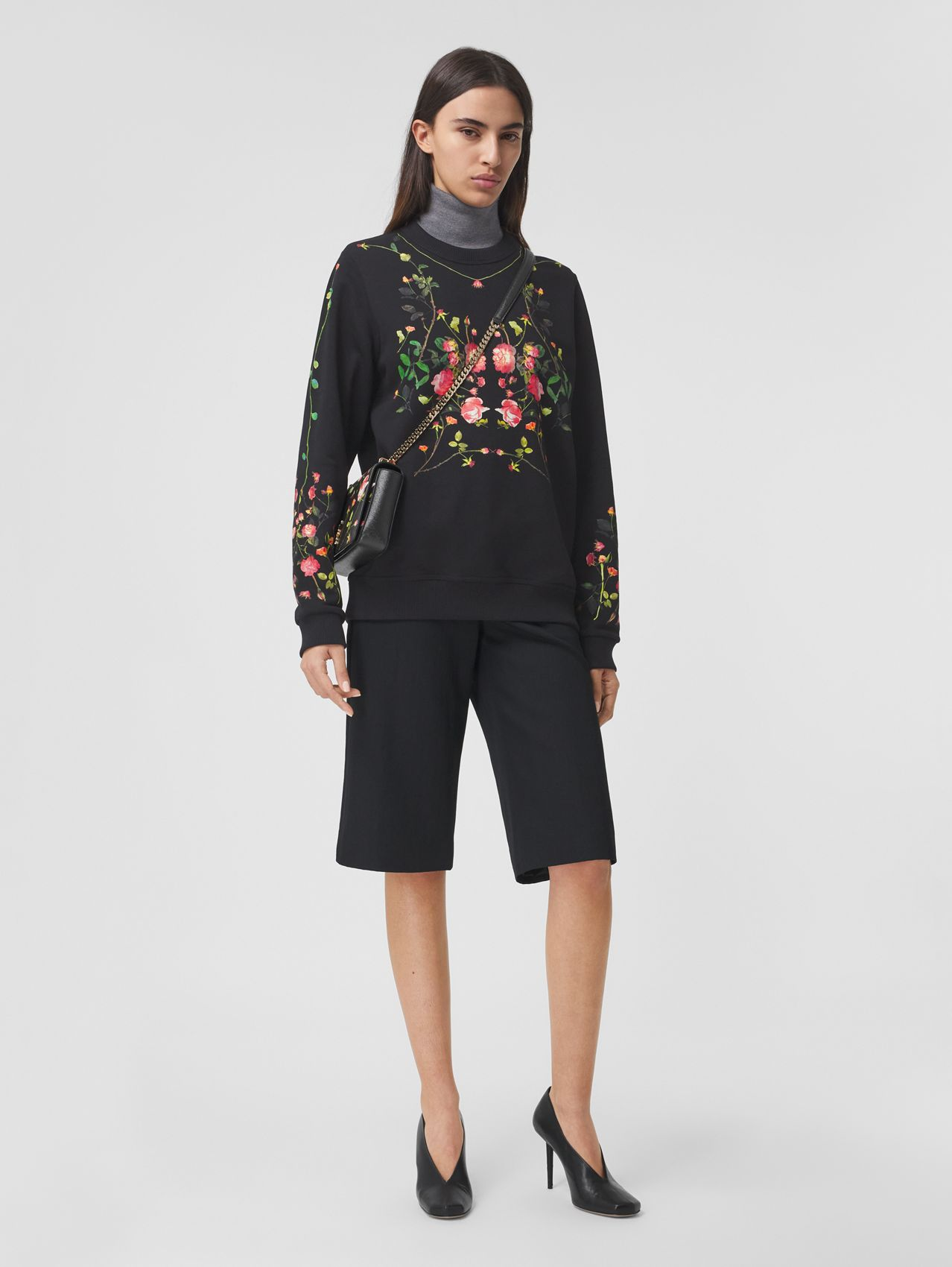 Rose Print Cotton Oversized Sweatshirt in Black