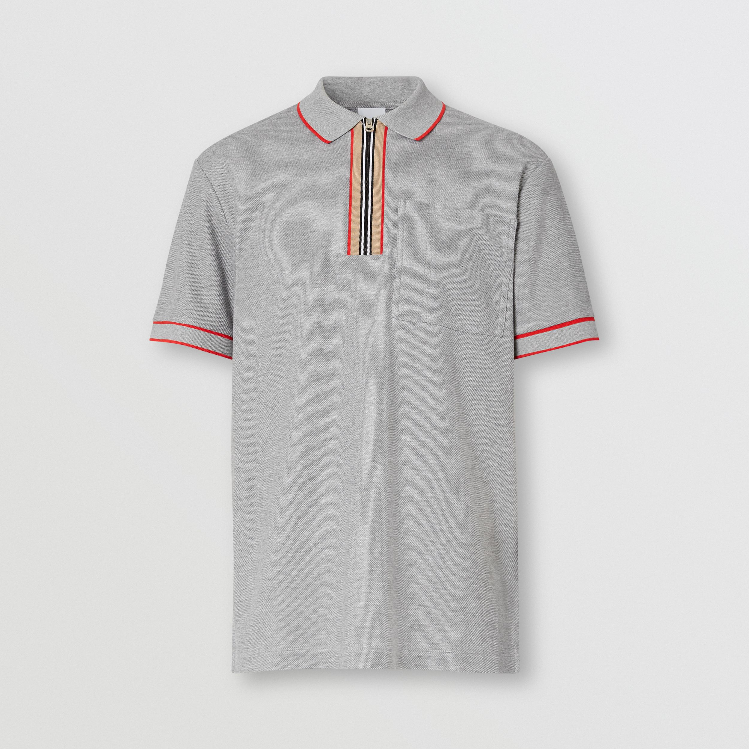 Icon Stripe Detail Cotton Zip-front Polo Shirt in Pale Grey Melange - Men | Burberry - 4