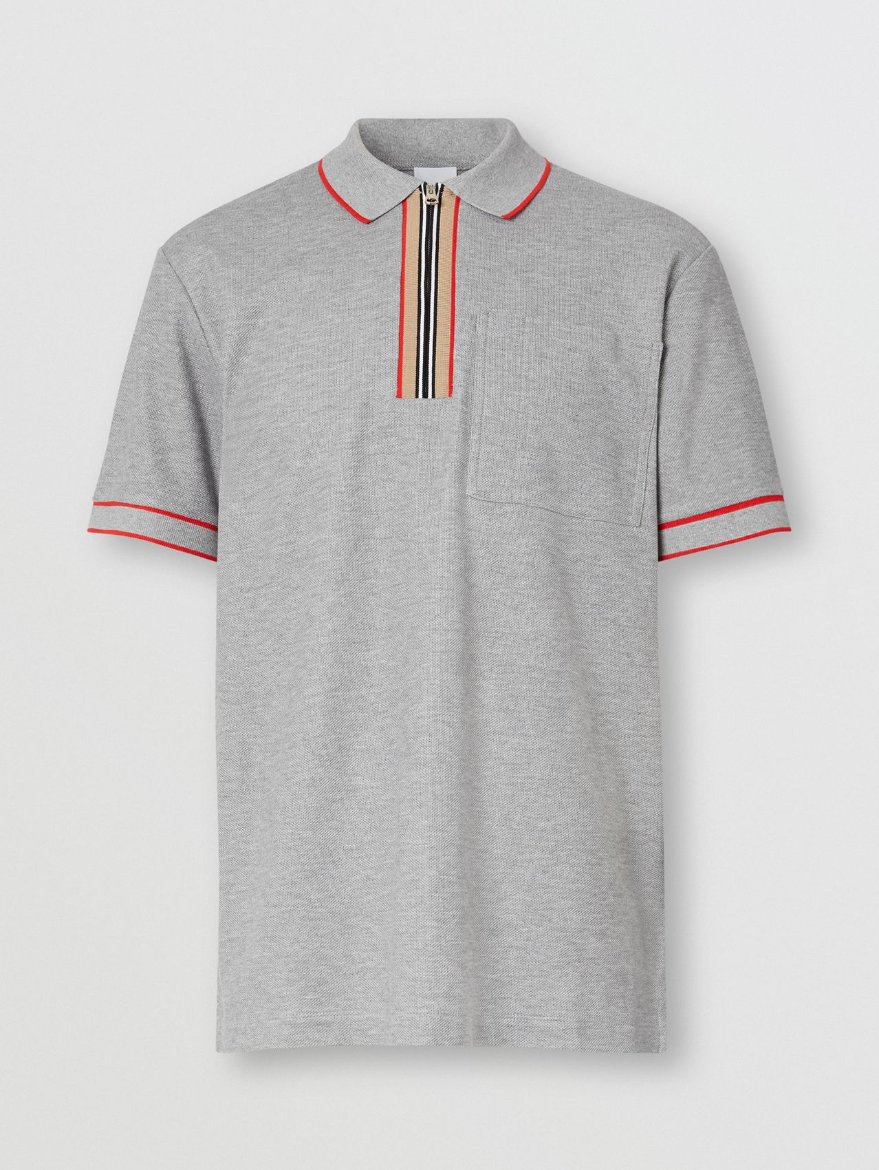 Icon Stripe Detail Cotton Zip-front Polo Shirt in Pale Grey Melange