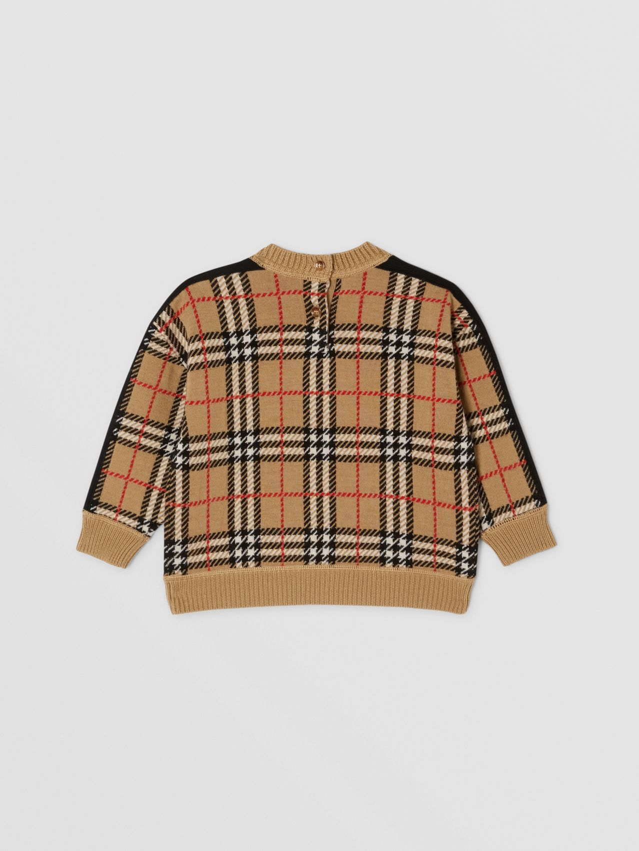 Check Merino Wool Jacquard Sweater in Archive Beige