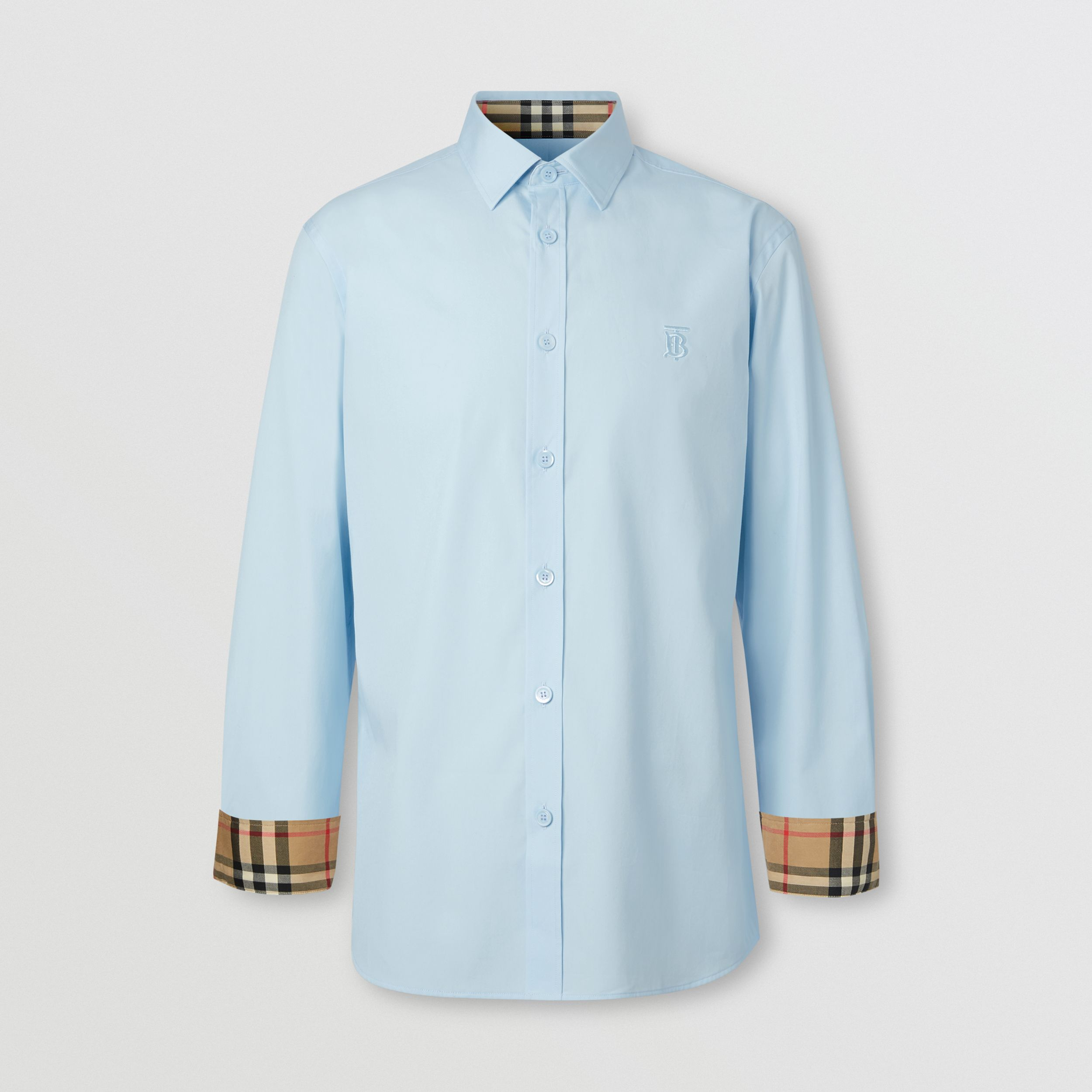 Slim Fit Monogram Motif Stretch Cotton Poplin Shirt in Pale Blue - Men | Burberry - 4