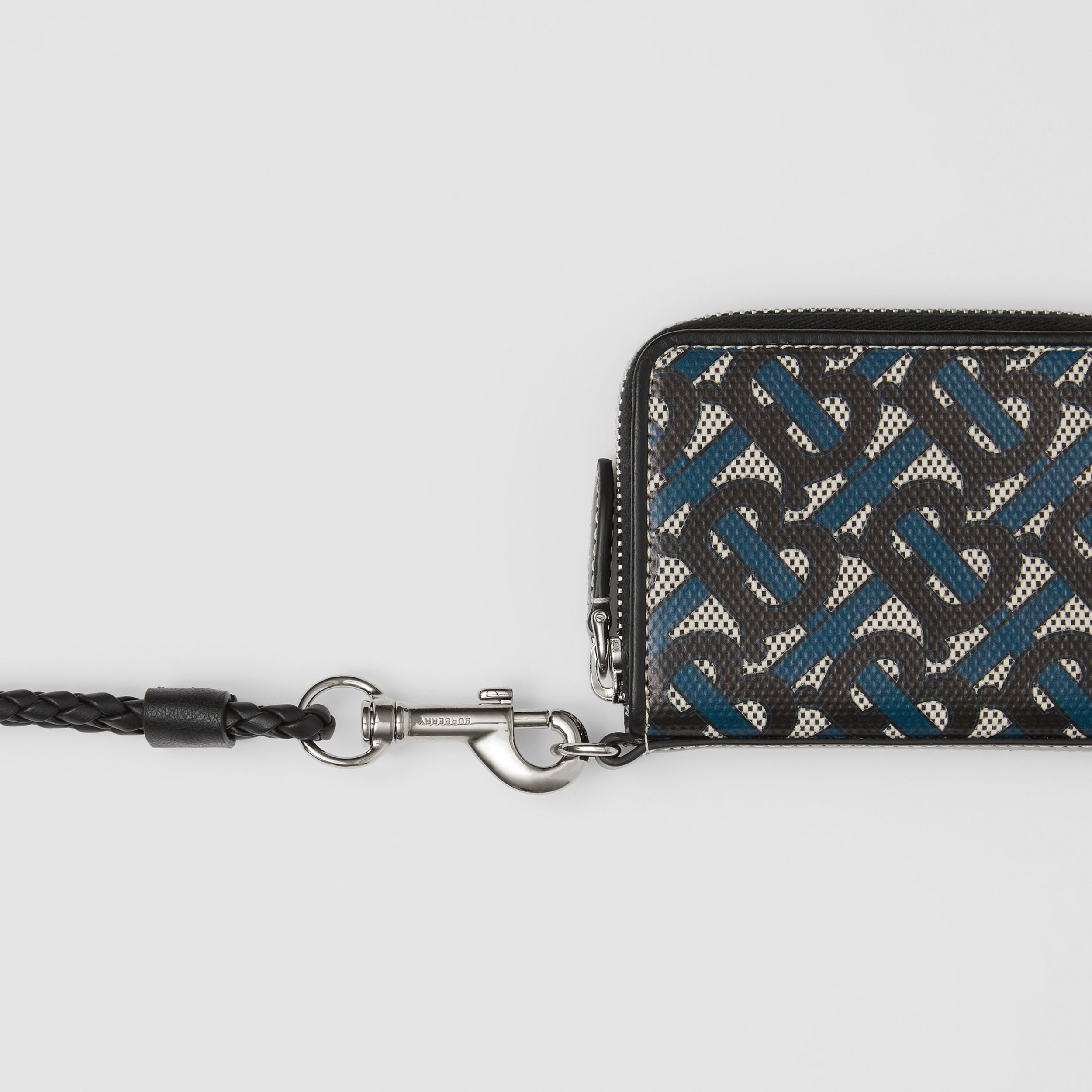 Monogram Print Cotton Canvas Card Case Lanyard in Ink Blue - Men | Burberry - 2